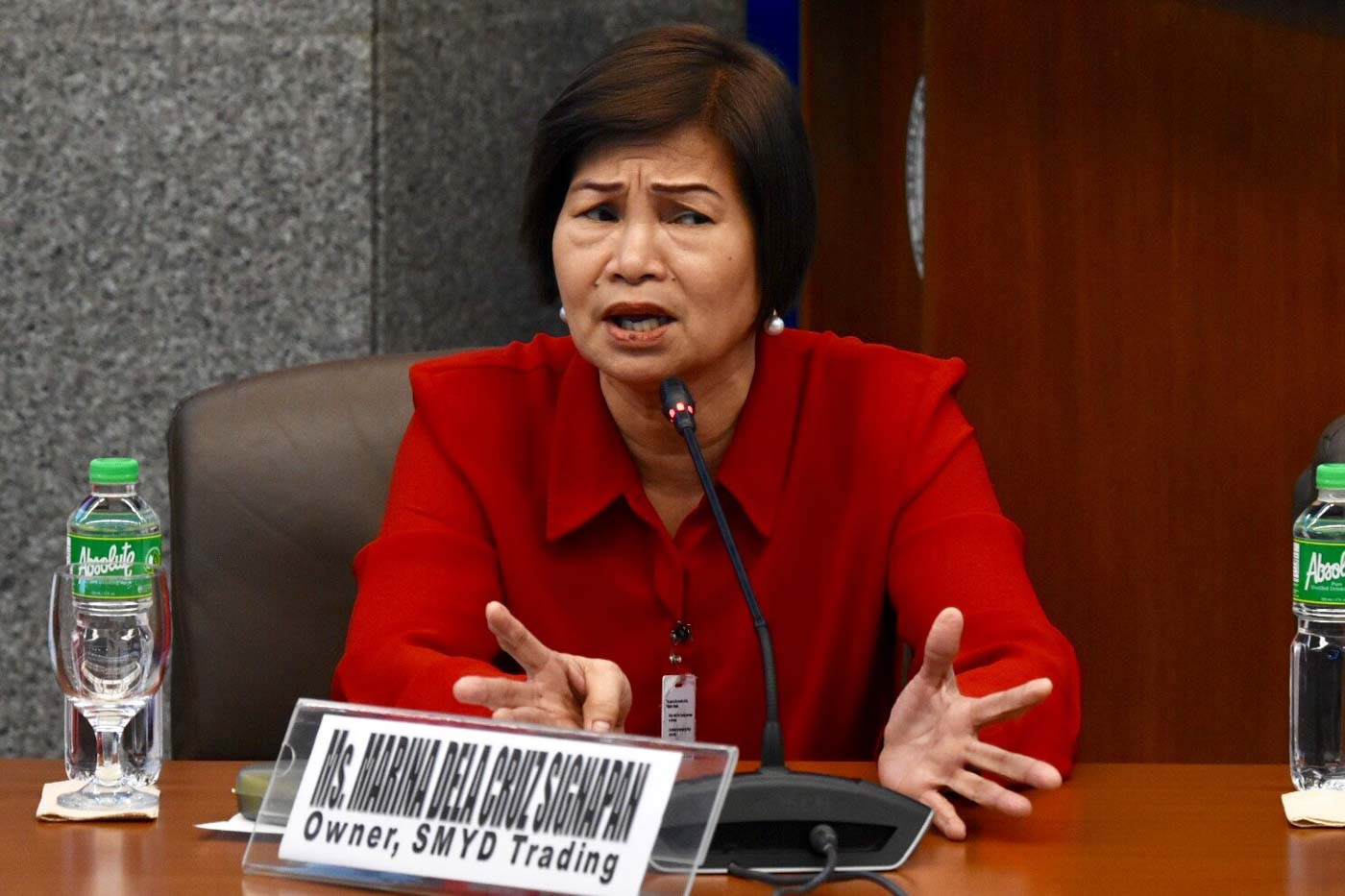 THREATS TO LIFE. Marina dela Cruz Signapan, owner of SMYD Trading, claims  threats to her life have made her feel ill, prompting her to skip a Senate hearing on shabu smuggling. File photo by Angie de Silva/Rappler