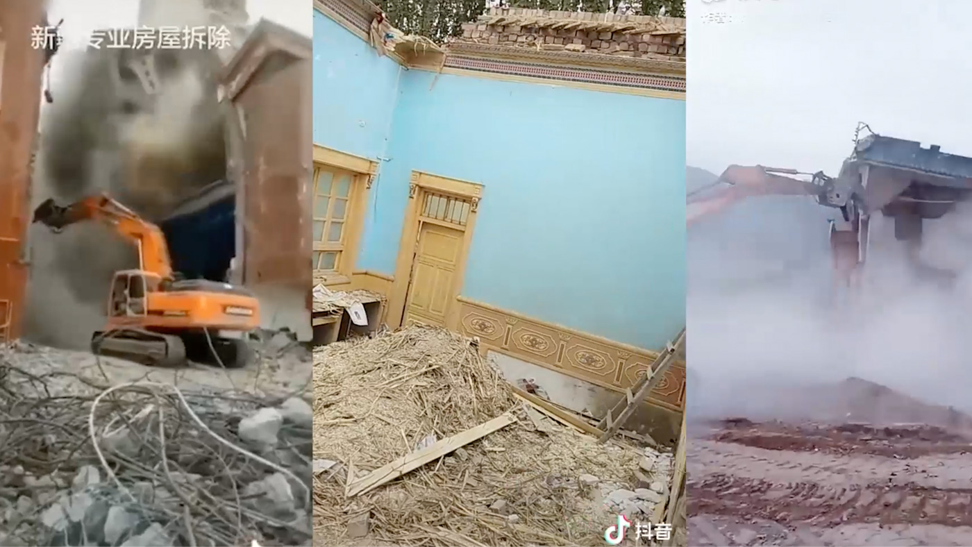 DEMOLITION. Videos have surfaced on TikTok and other Chinese apps that appear to show the destruction of traditional Uyghur and other Muslim buildings and mosques. The video on the far right is thought to be a Hui mosque.