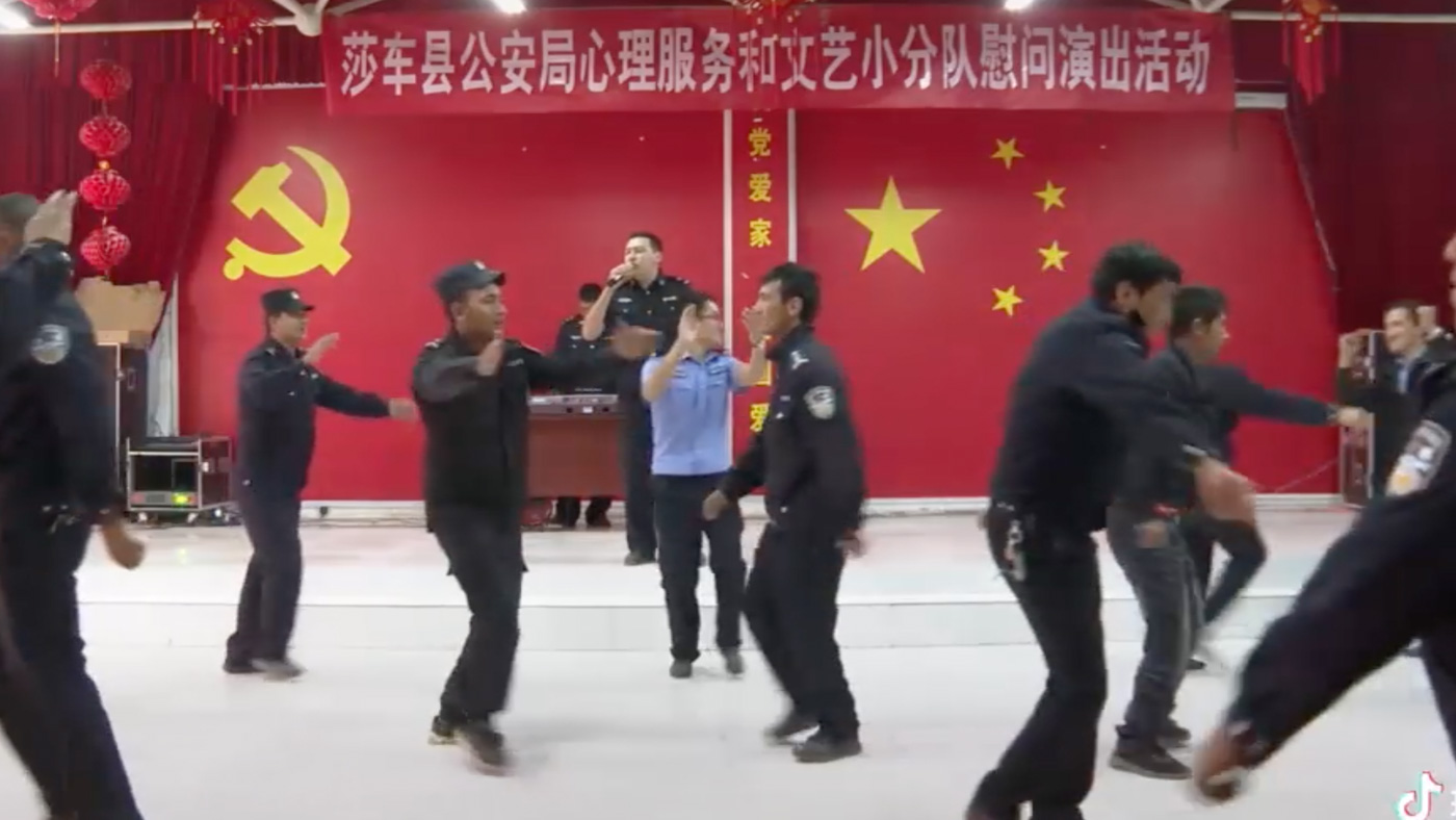 DANCE. This video on the Yarkant Police TikTok channel shows what appear to be mostly Uyghur officers dancing before the Chinese flag and the Communist symbol.The sign above them suggests it is a psychological support session.