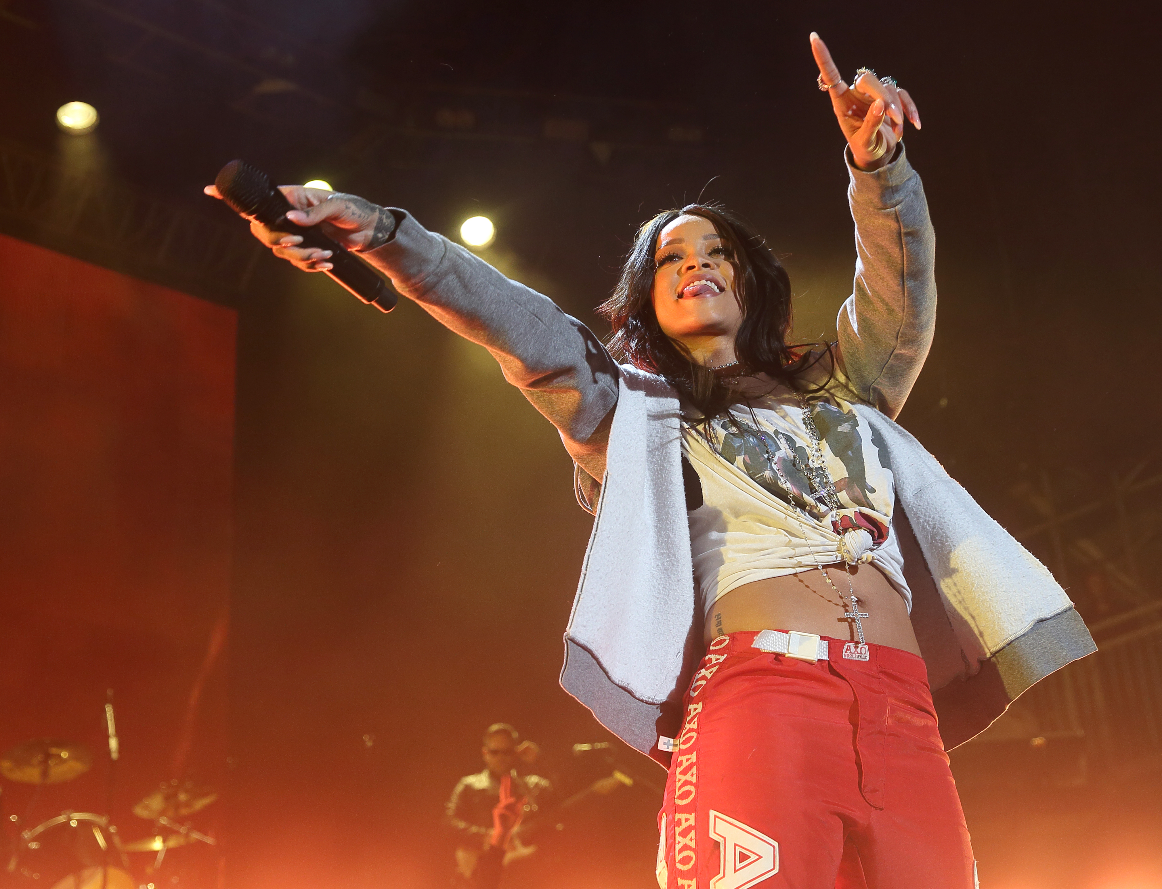 60 WEEKS. Rihanna overtakes The Beatles for staying on top of the Billboard hit singles chart for the second longest time. This photo is from her performing at the March Madness Music Festival at the White River State Park in Indianapolis, USA, April 2015. File photo by Steve C Mitchell/EPA