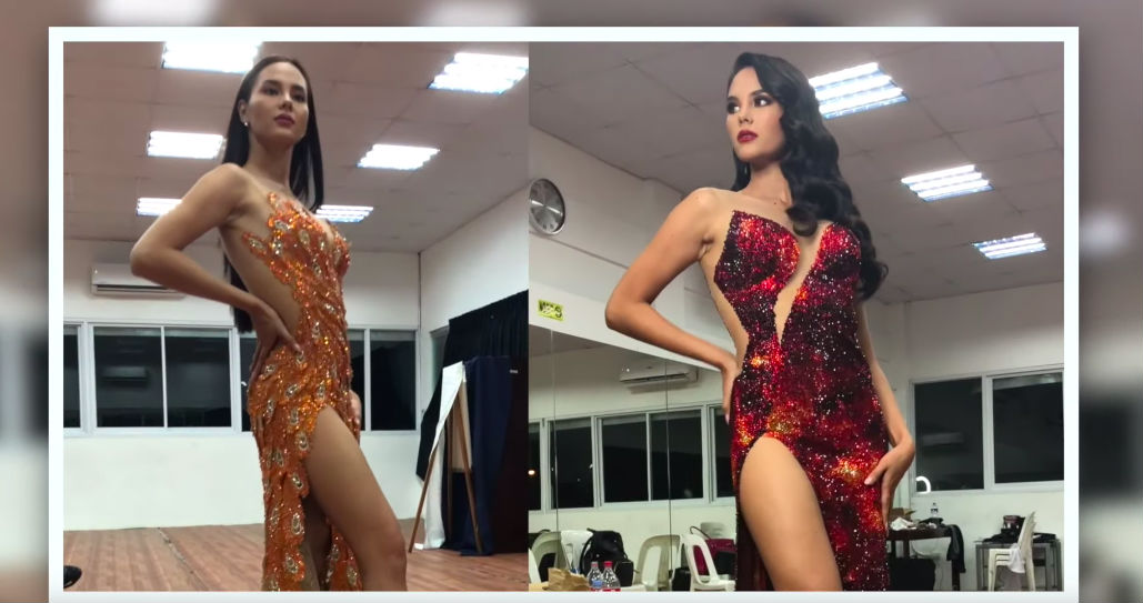 ADARNA AND MAYON. Catriona tries posing in the now famous two gowns she wore during the pageant.