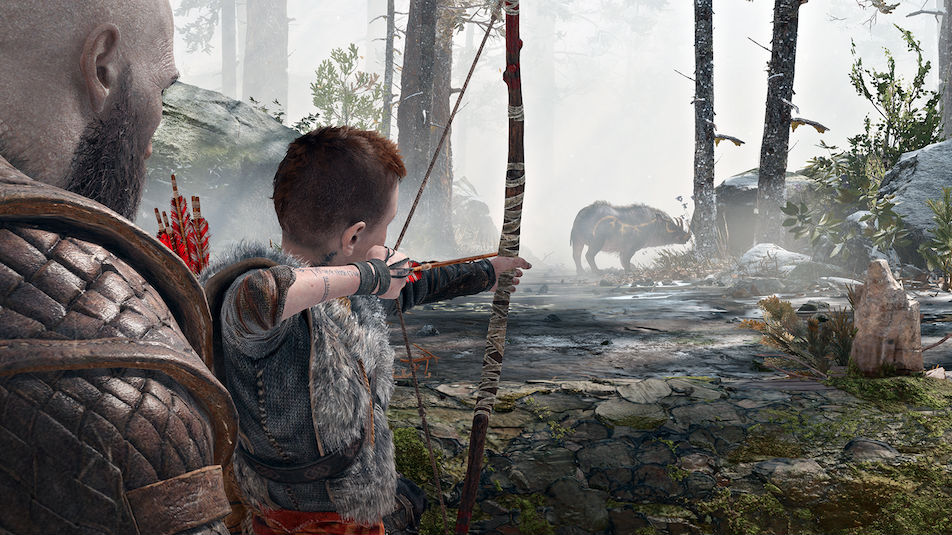 LEARNING THE ROPES. Accuracy over speed, Kratos advises his young ward on the ways of the hunt