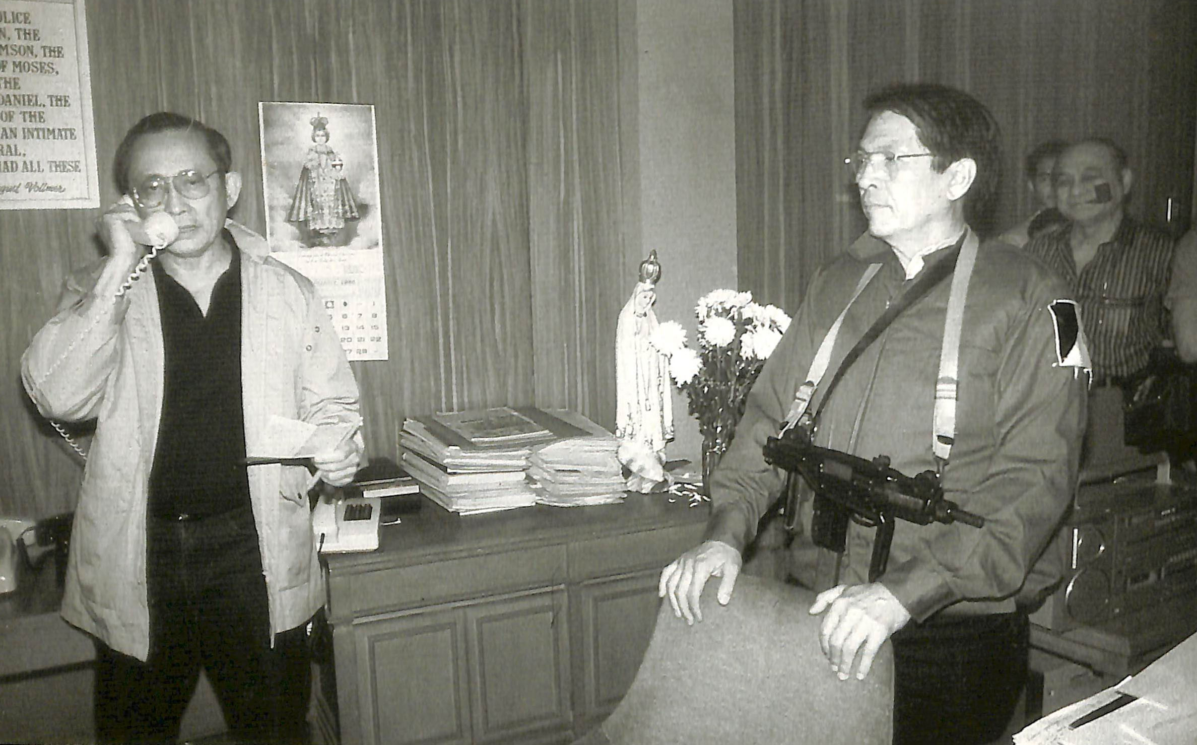 SUPPORT. Fidel V. Ramos and Juan Ponce Enrile call for support. Photo from the Presidential Museum and Library