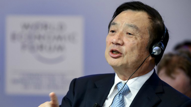HUAWEI. Huawei Founder and CEO Ren Zhengfei speaks during a session of the World Economic Forum (WEF) annual meeting on January 22, 2015 in Davos. File photo by Fabrice Coffrini/AFP