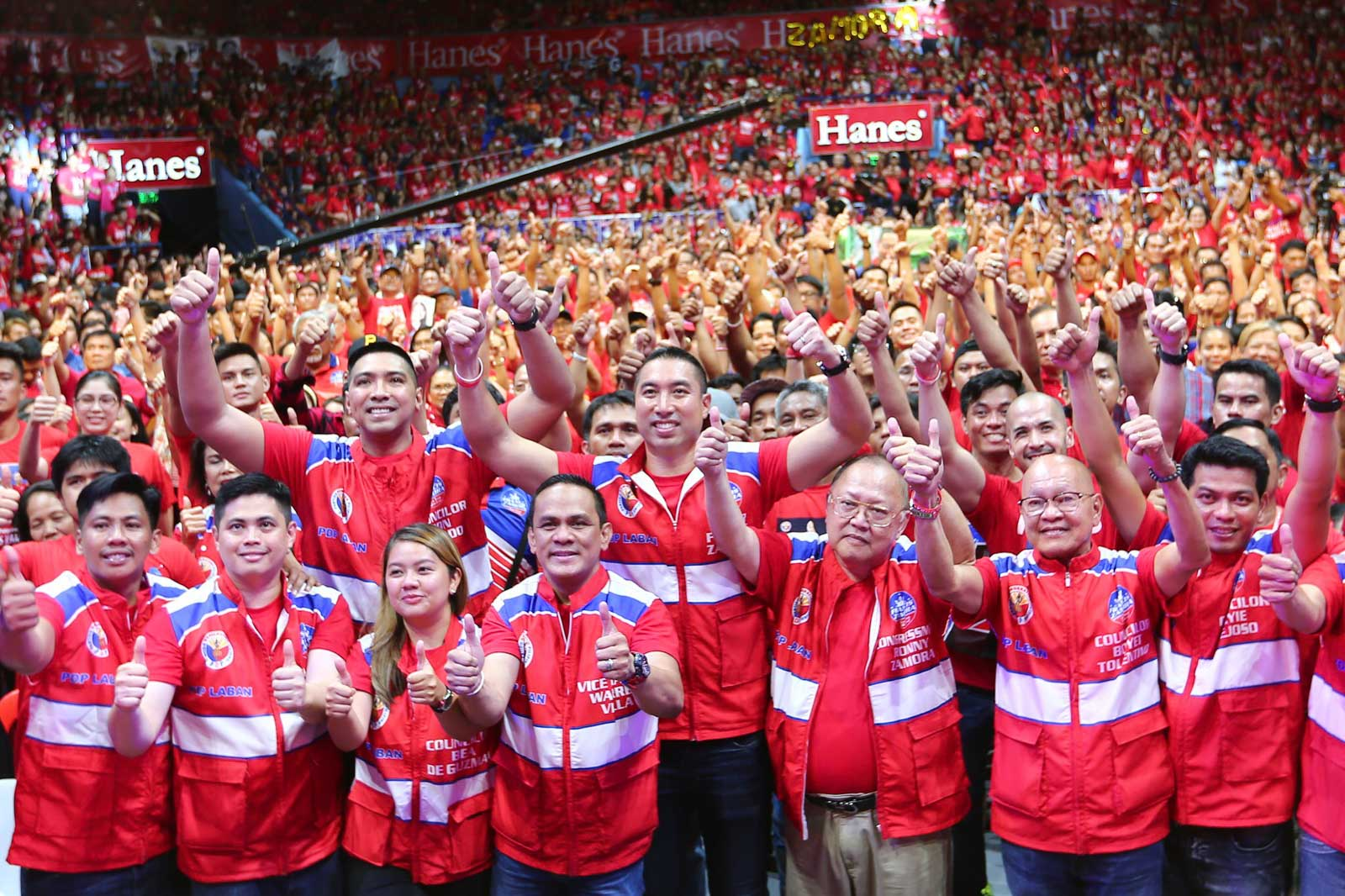 PACKED. PDP-Laban San Juan holds its miting de avance at the Filoil Flying V Center, filling it with supporters in red on May 11. Photo by Jire Carreon/Rappler