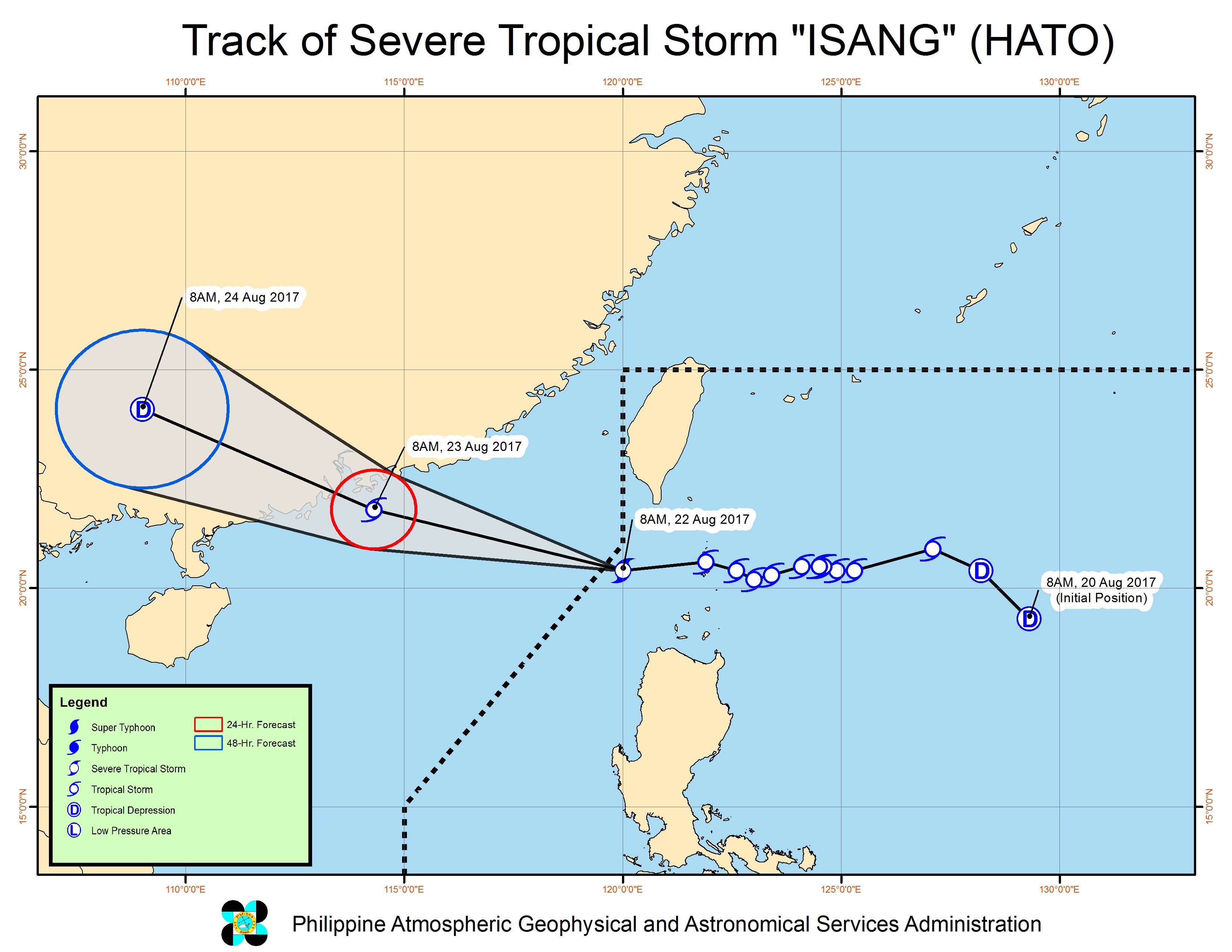 Forecast track of Severe Tropical Storm Isang as of August 22, 11 am. Image courtesy of PAGASA