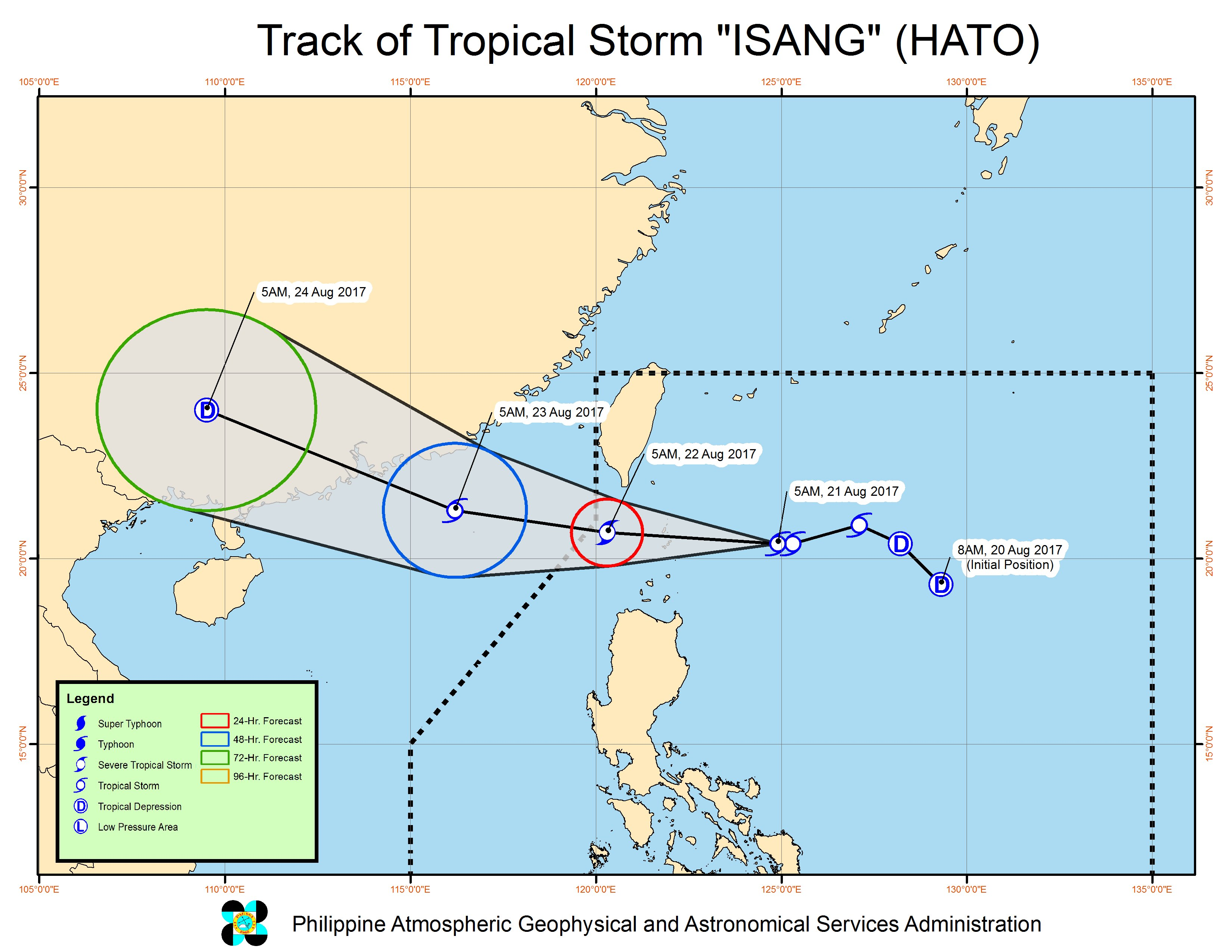 Forecast track of Tropical Storm Isang as of August 21, 5 am. Image courtesy of PAGASA