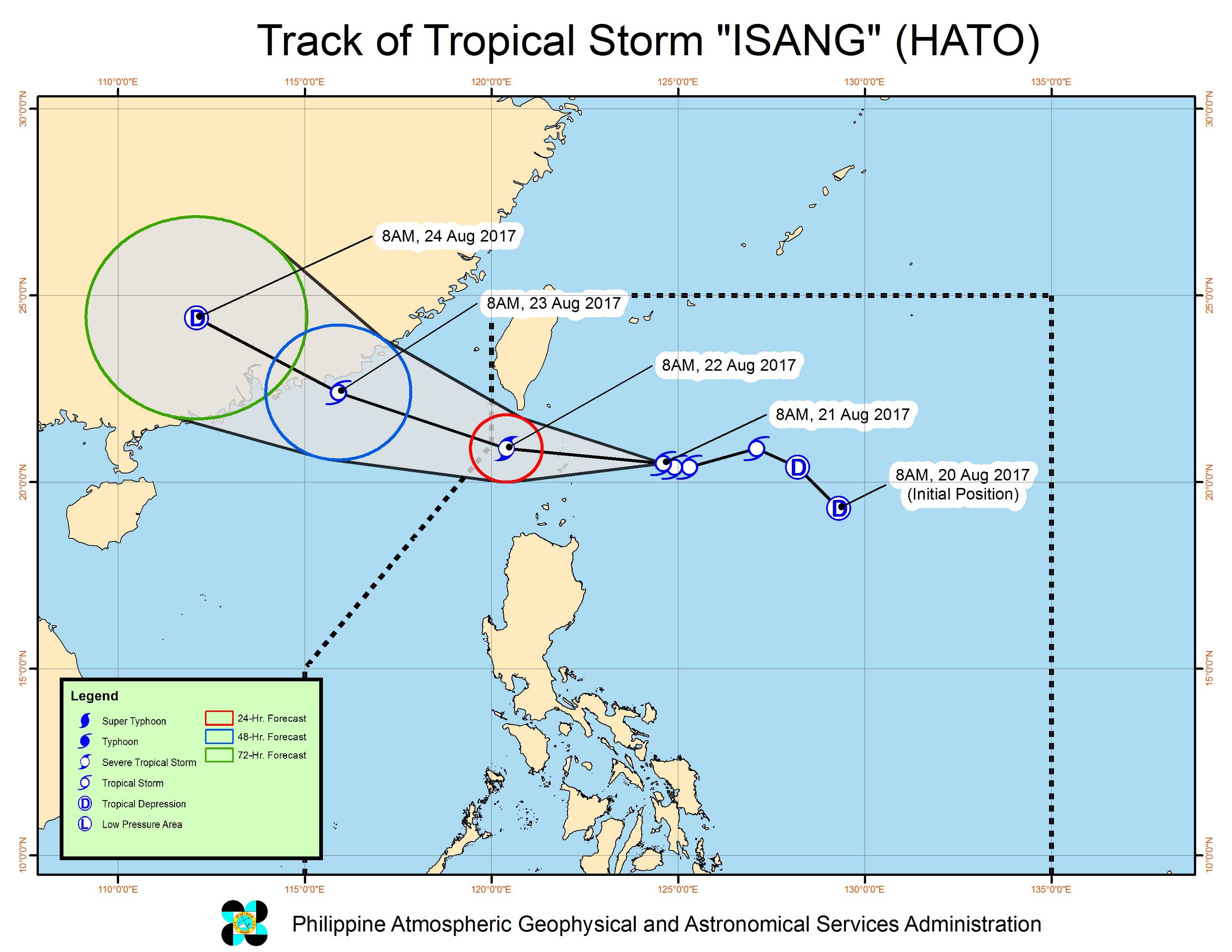 Forecast track of Tropical Storm Isang as of August 21, 11 am. Image courtesy of PAGASA