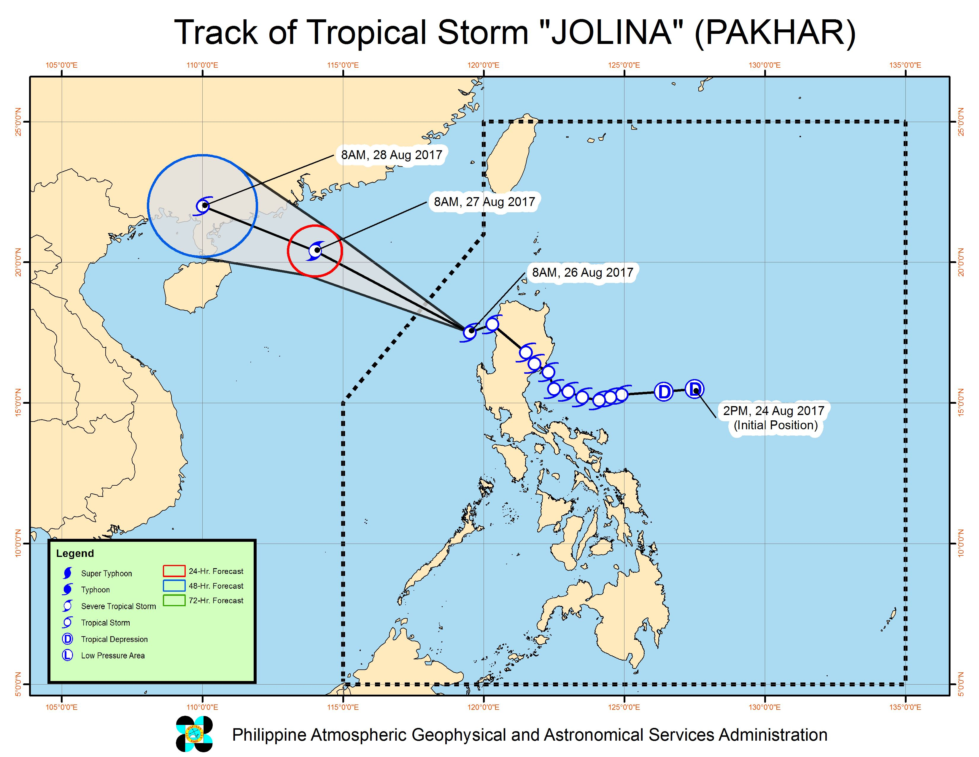 Forecast track of Tropical Storm Jolina as of August 26, 11 am. Image courtesy of PAGASA