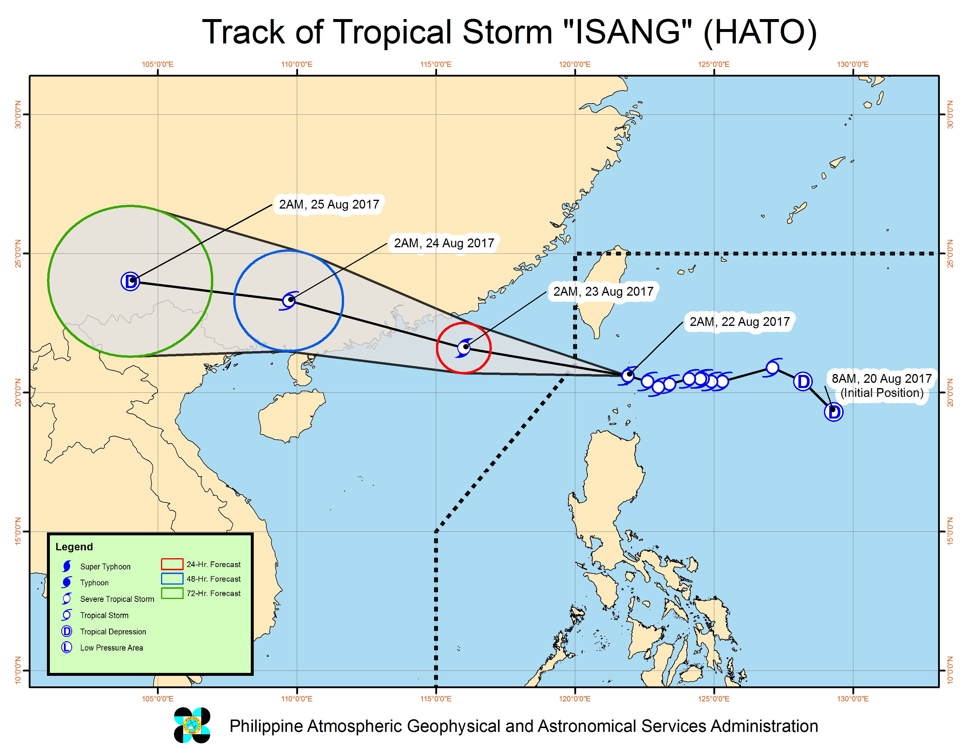 Forecast track of Tropical Storm Isang as of August 22, 5 am. Image courtesy of PAGASA
