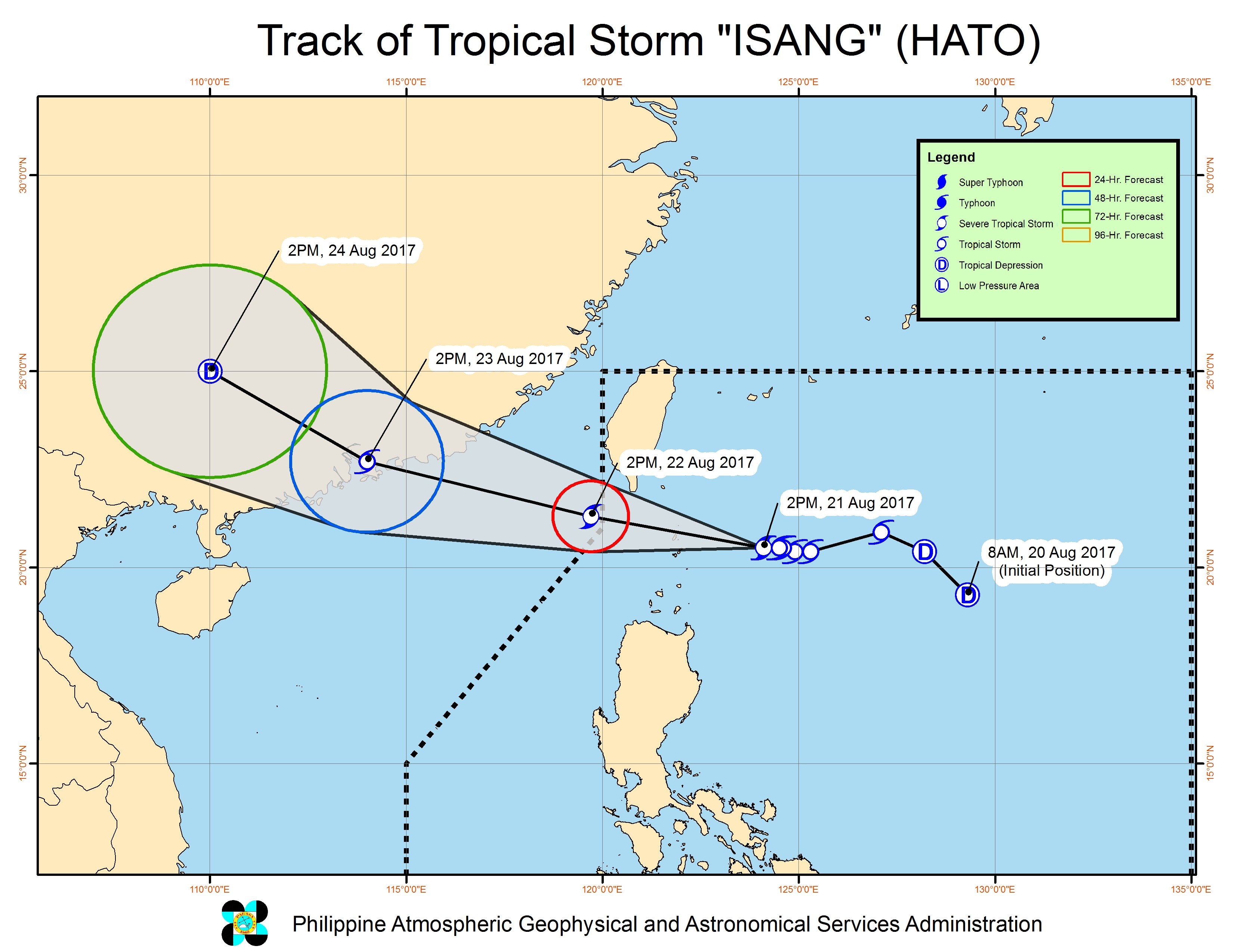 Forecast track of Tropical Storm Isang as of August 21, 5 pm. Image courtesy of PAGASA