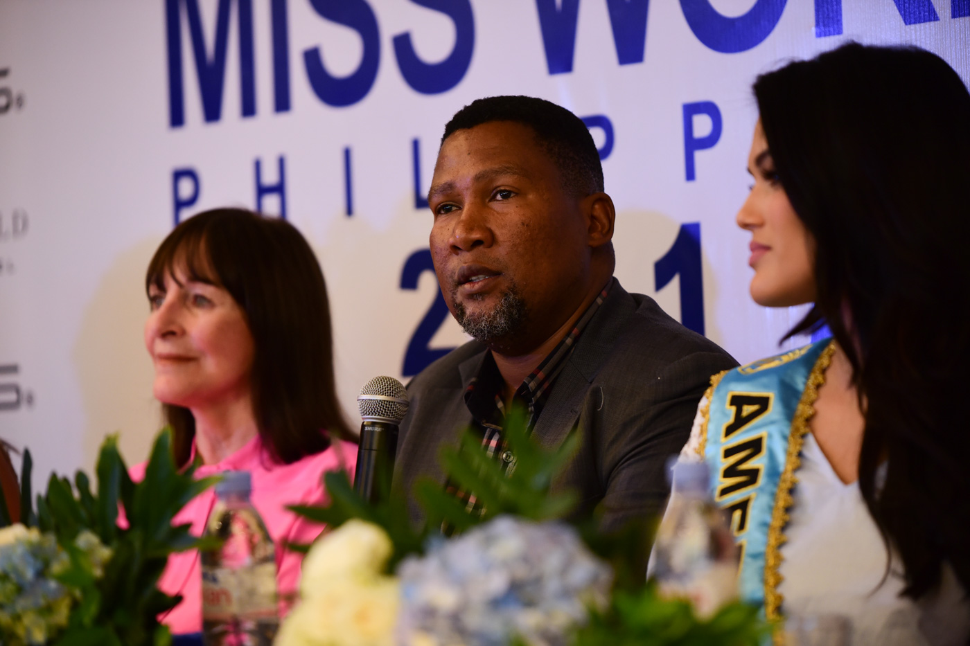 Chief Mandela answering questions from the media during the Miss World press conference on September 1.
