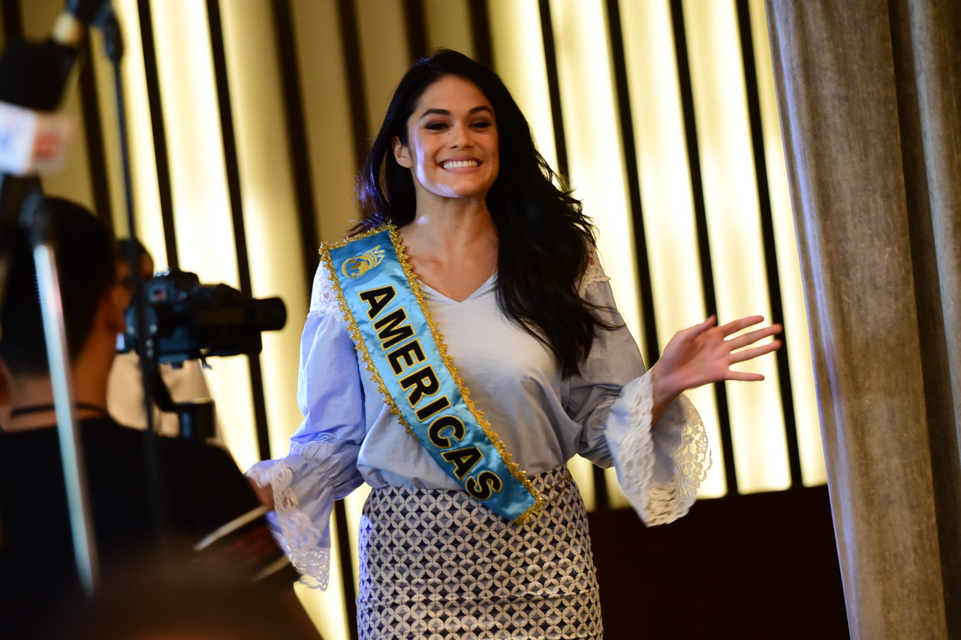 Audra entering the press conference of the Miss World Organization on September 1.