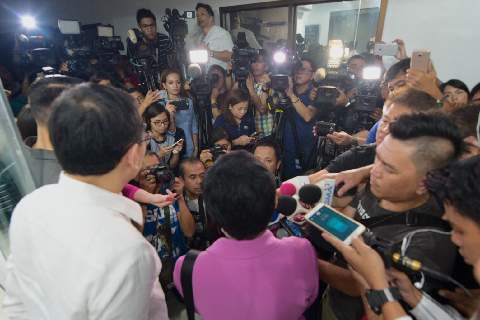 CYBER LIBEL. Rappler CEO Maria Ressa answers questions from the media on January 22, 2018, as she faces a cyber libel complaint over a 2012 article. Photo by Leanne Jazul / Rappler