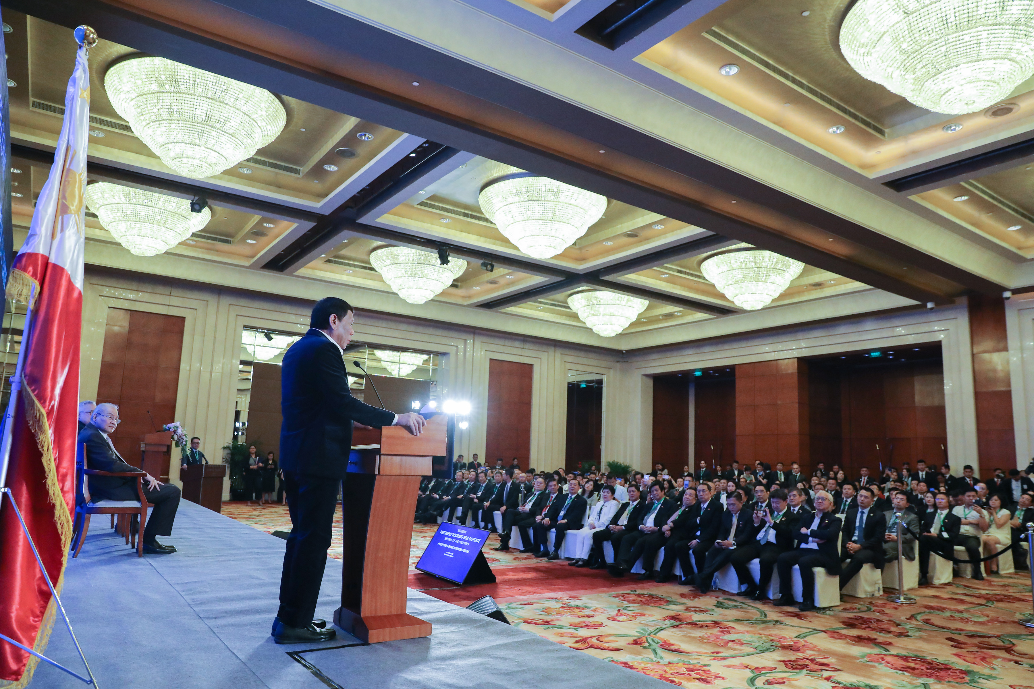 SALES PITCH. President Rodrigo Duterte addresses the Philippines-China Business Forum at the Grand Hyatt Hotel in Beijing on August 30, 2019. Photo by Rey Baniquet/Presidential Photo