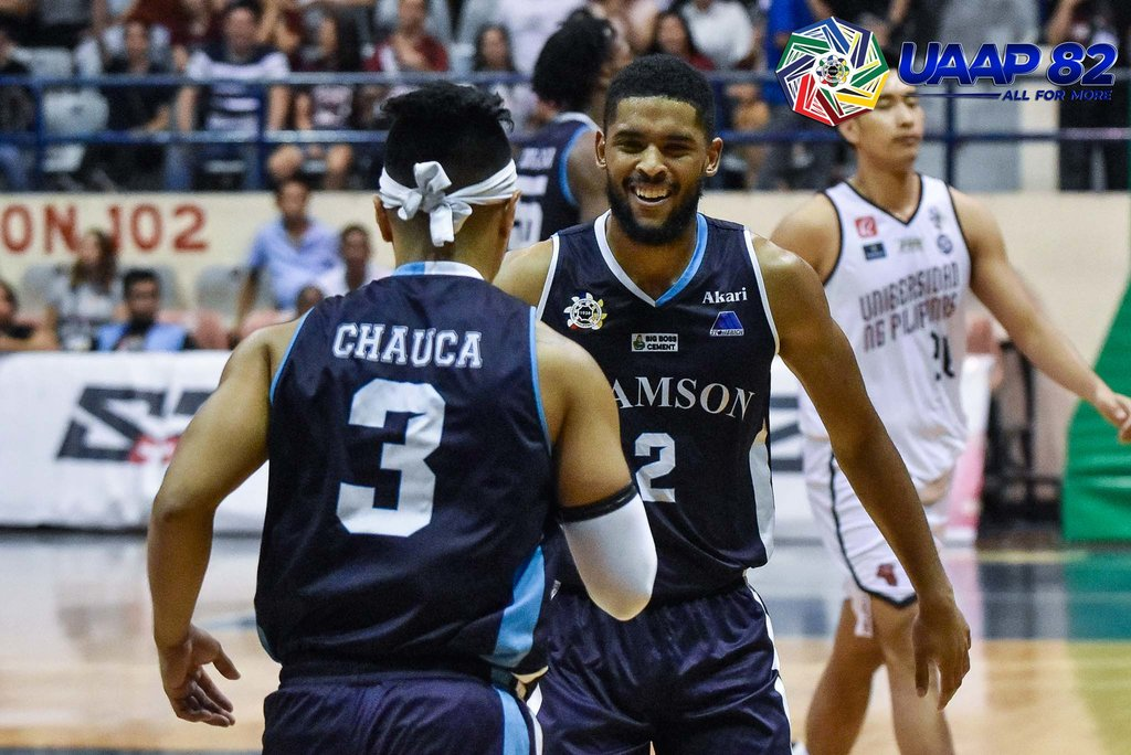 POWER DUO. Before Adamson's heartbreaking loss, Val Chauca and Jerrick Ahanmisi help the Falcons stay toe-to-toe with the Maroons. Photo release