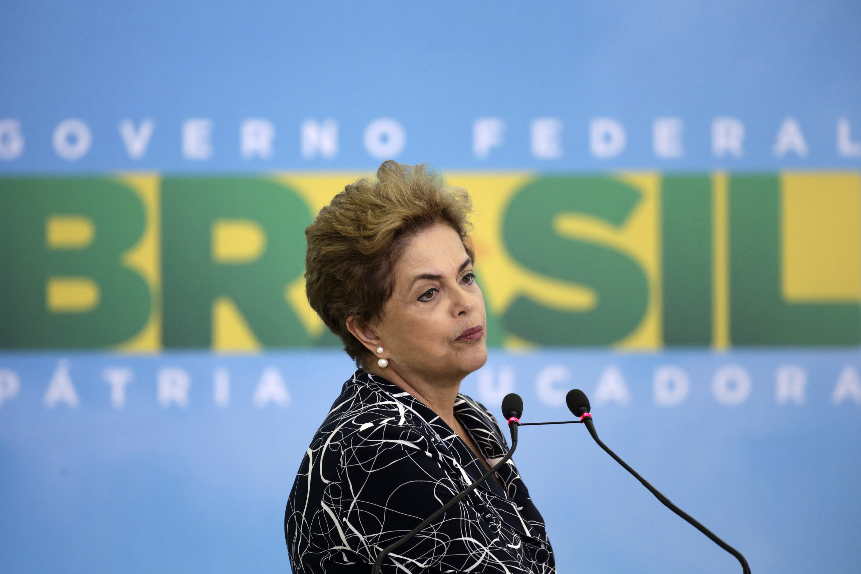 EMBATTLED LEADER. Brazilian President Dilma Rousseff delivers a speech during a ceremony to launch a new phase of the state-funded housing program, at the Planalto Presidential Palace in Brasilia, Brazil, May 6, 2016. File photo by Fernando Bizerra Jr/EPA