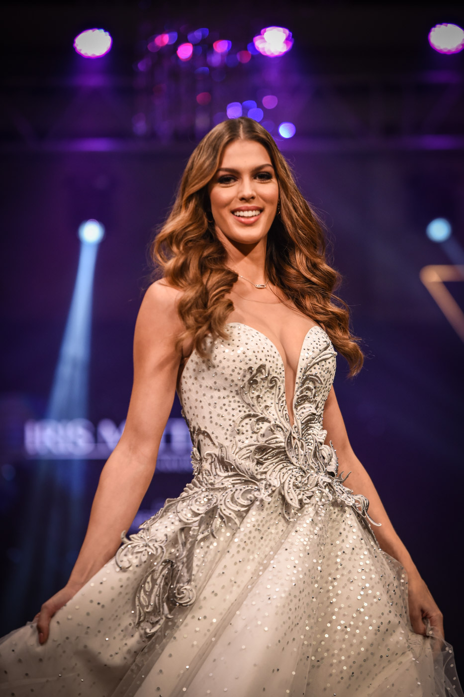 Miss Universe 2016 Iris Mittenaere in a creation by Albert Andrada