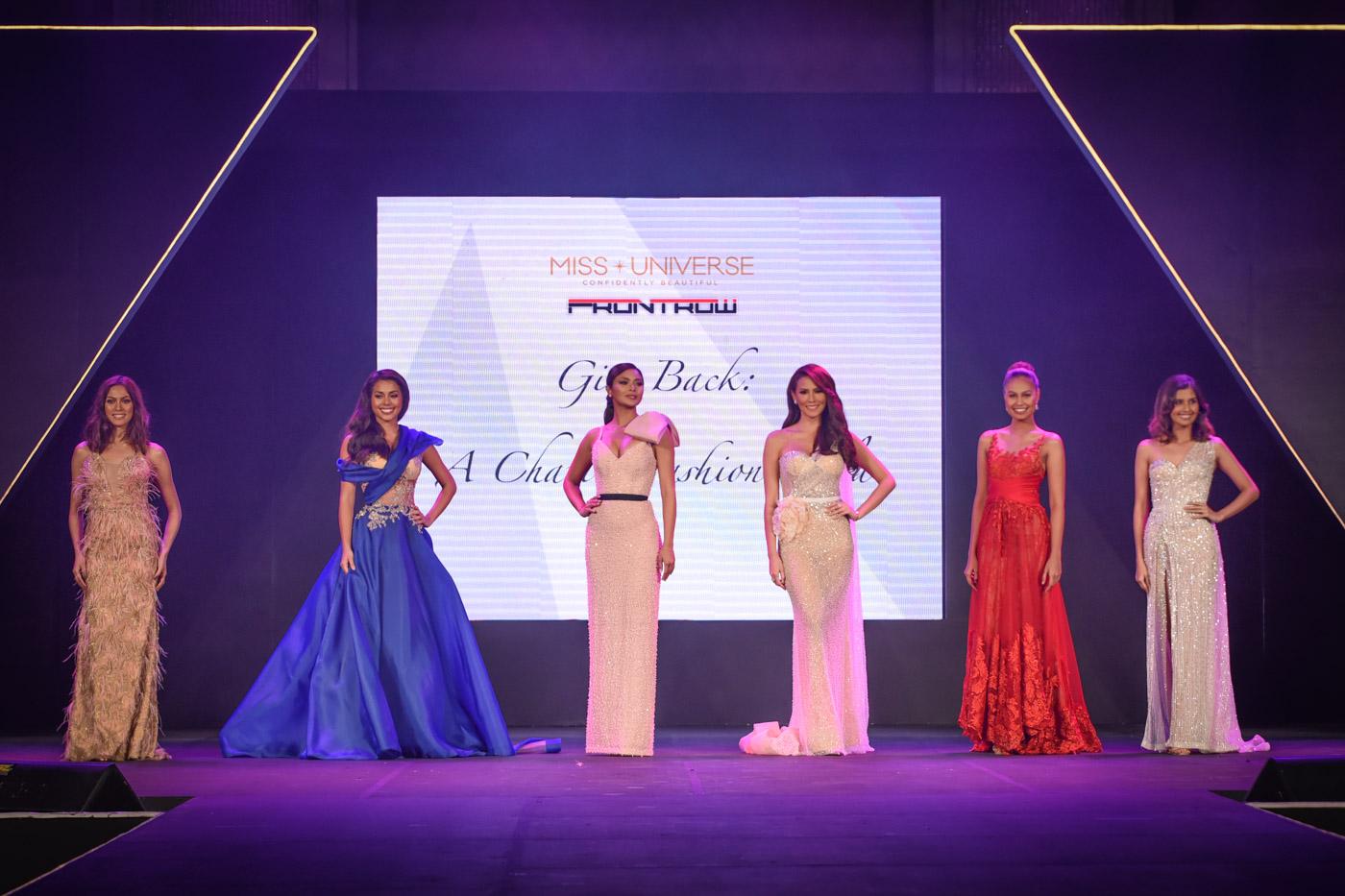 The 6 former Miss Universe Philippines title holders (L-R) Ariella Arida, MJ Lastimosa, Maxine Medina, Bianca Manalo, Venus Raj, and Shamcey Supsup