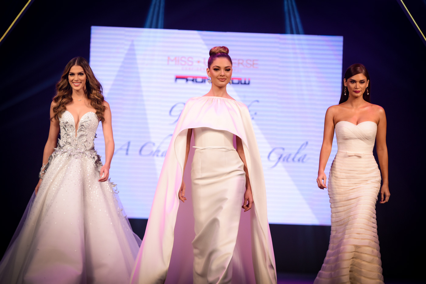 Miss Universe 2016 Iris Mittenaere, Miss Universe 2017 Demi-Leigh Nel-Peters, and Miss Universe 2015 Pia Wurtzbach during the Front Row Fashion show for a cause.  Photo by Alecs Ongcal/Rappler
