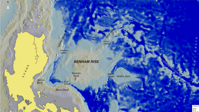 UNDERWATER PLATEAU. Found near Aurora, the 13-million-hectare Benham Rise is part of the Philippines' continental shelf. Screenshot from a document the Philippines submitted to the UN