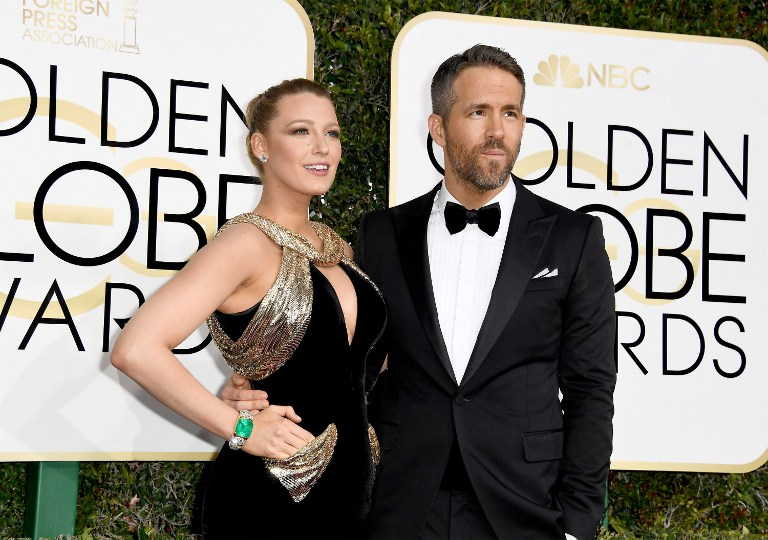 Actors Blake Lively and Ryan Reynolds attend the 74th Annual Golden Globe Awards at The Beverly Hilton Hotel on January 8, 2017 in Beverly Hills, California. Photo by Frazer Harrison/Getty Images/AFP