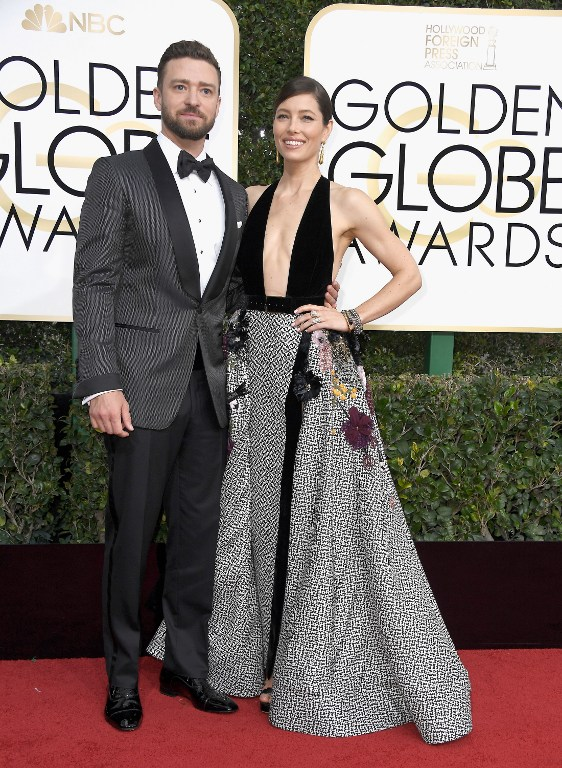 Musician Justin Timberlake and actress Jessica Biel attend the 74th Annual Golden Globe Awards at The Beverly Hilton Hotel on January 8, 2017 in Beverly Hills, California. Photo by Frazer Harrison/Getty Images/AFP