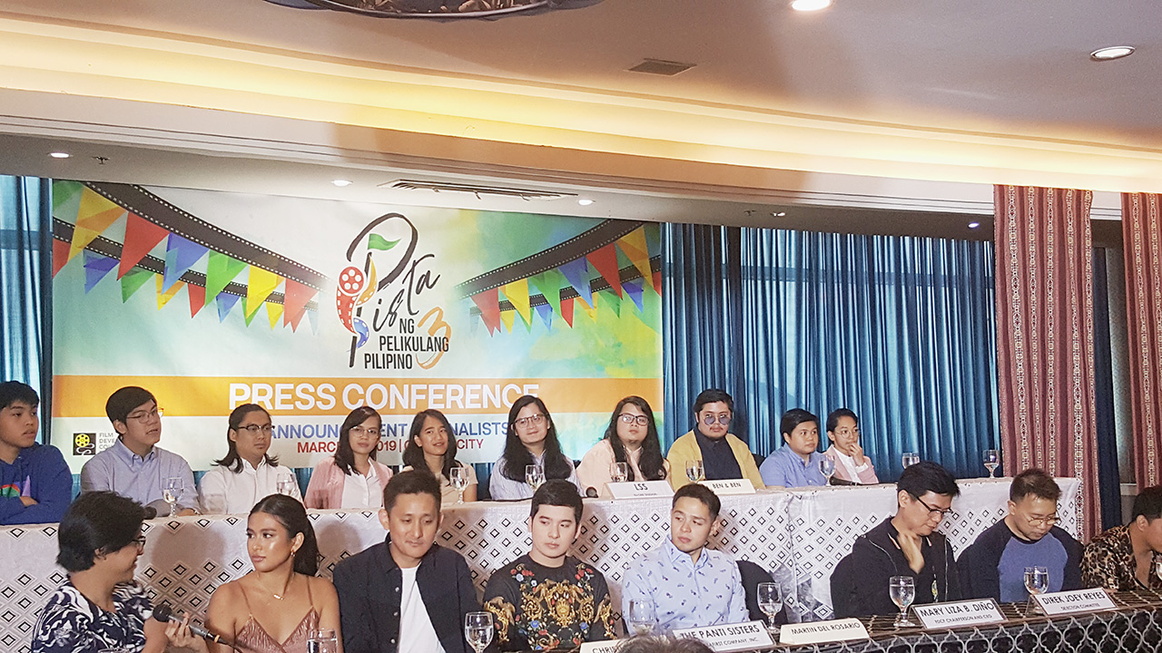 PISTA NG PELIKULANG PILIPINO 2019. The directors, producers, and some of the actors of the first 3 films during the press conference.