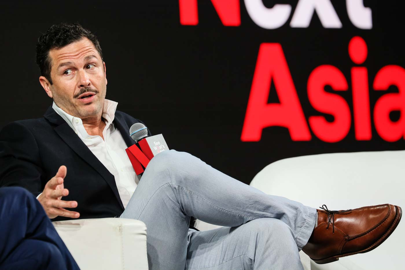 ANALYZING 'NARCOS.' Eric Newman speaks during the Netflix event at the Marina Bay Sands on November 8, 2018, in Singapore. Photo by Ore Huiying/Getty Images for Netflix