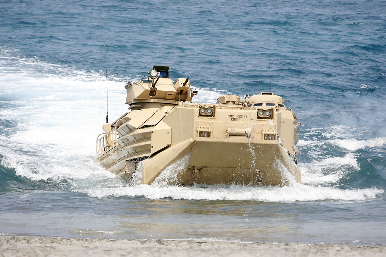 'AMTRACKS': The Amphibious Assault Vehicle safely transports US Marines into hostile islands. Photo by Ben Nabong/Rappler