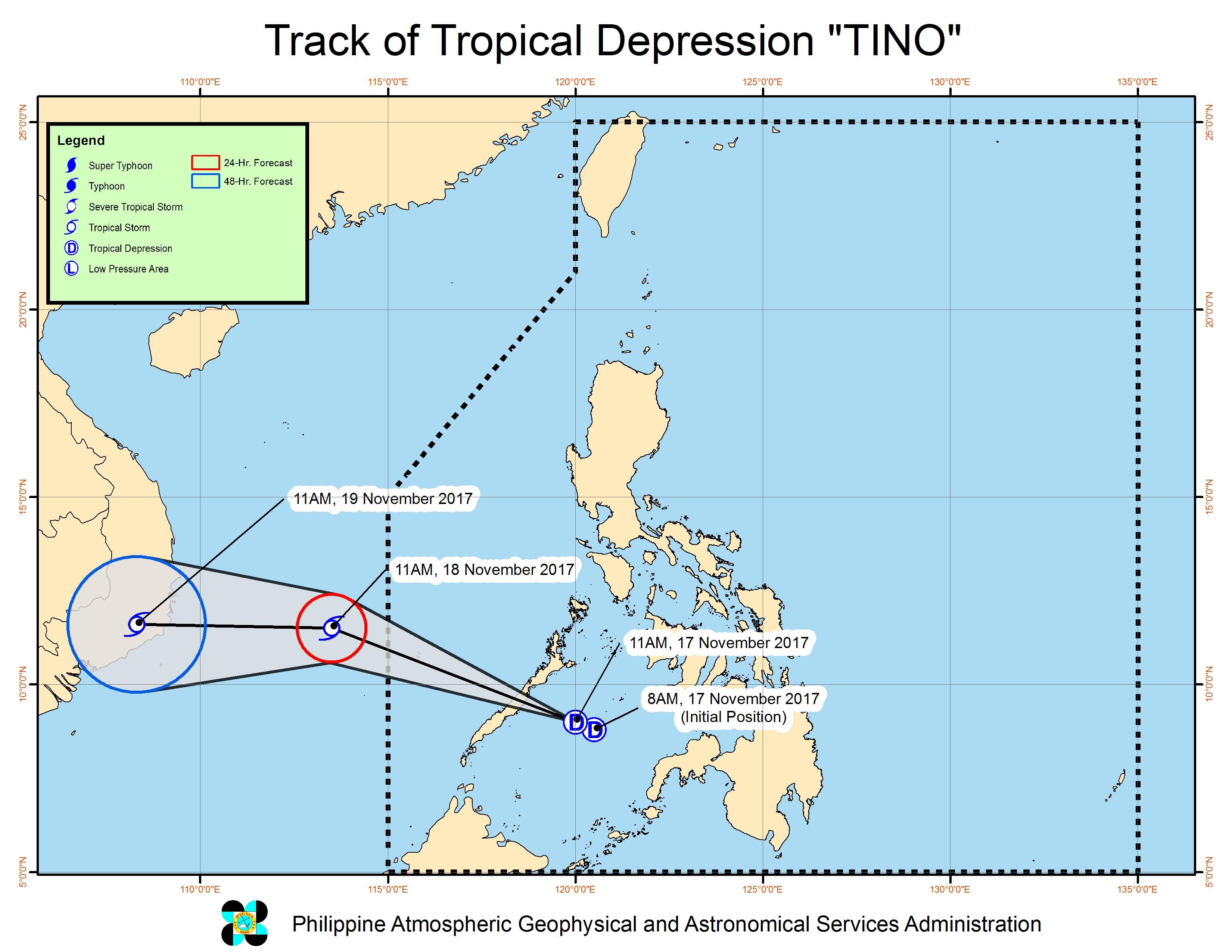 Forecast track of Tropical Depression Tino as of November 17, 2 pm. Image courtesy of PAGASA