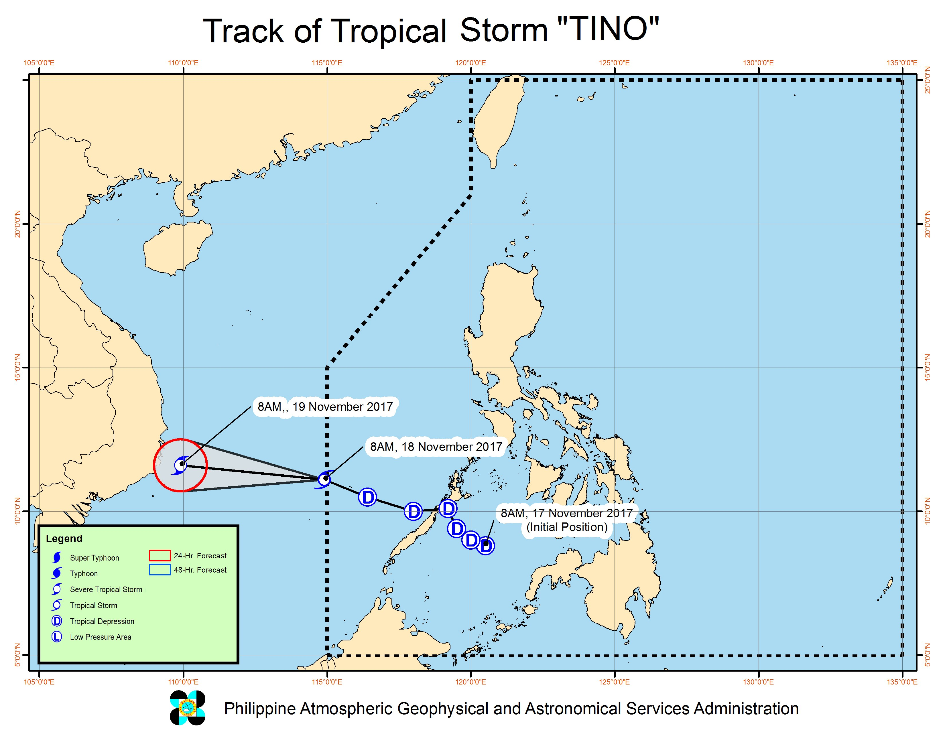 Forecast track of Tropical Storm Tino as of November 18, 10 am. Image courtesy of PAGASA