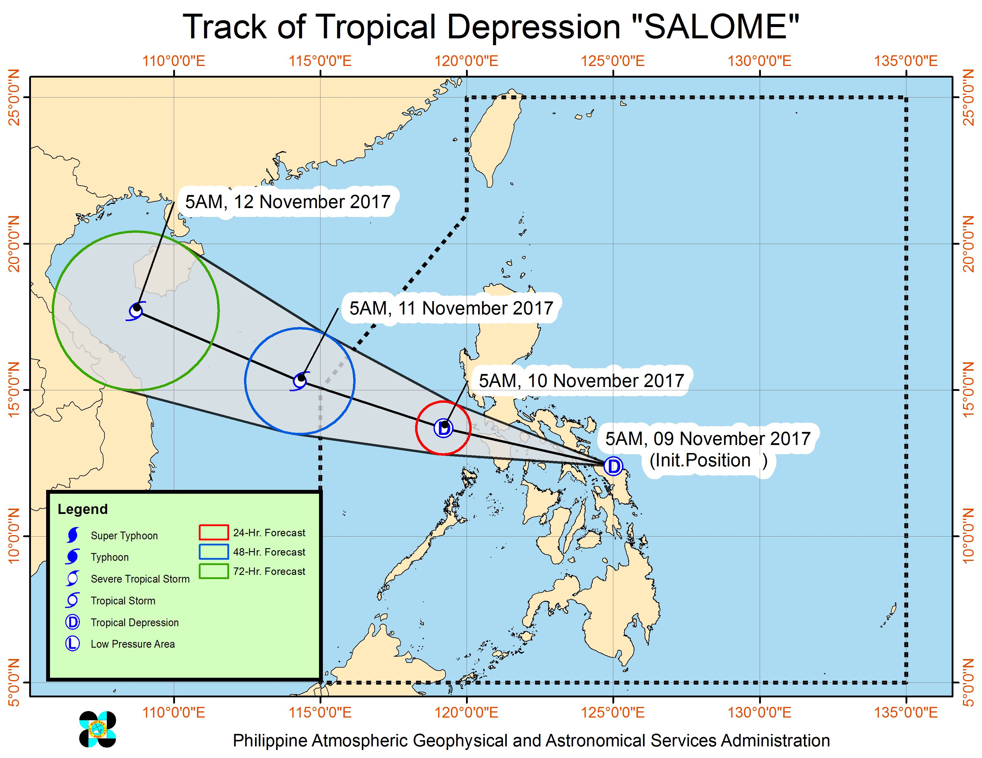 Forecast track of Tropical Depression Salome as of November 9, 9 am. Image courtesy of PAGASA