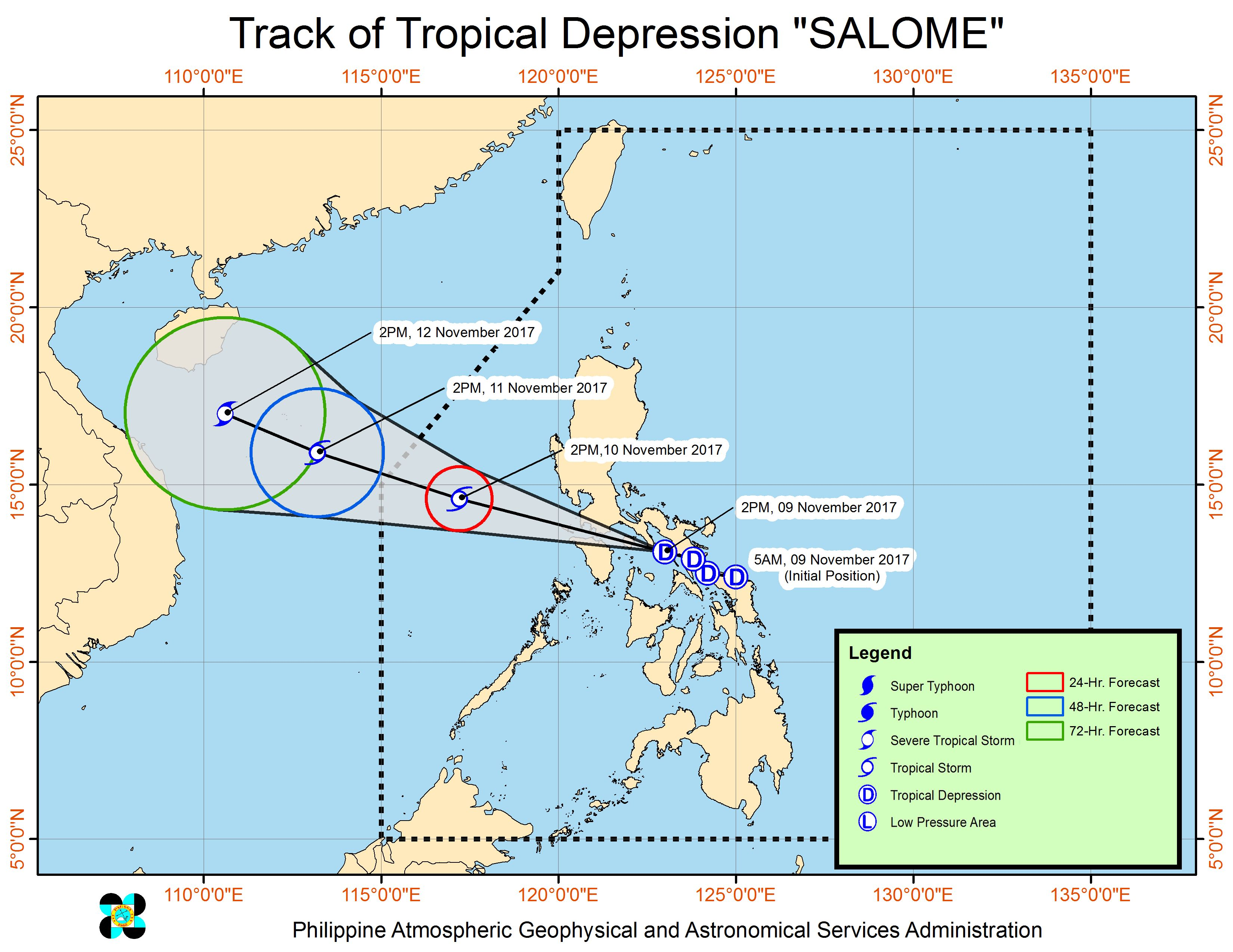 Forecast track of Tropical Depression Salome as of November 9, 5 pm. Image courtesy of PAGASA