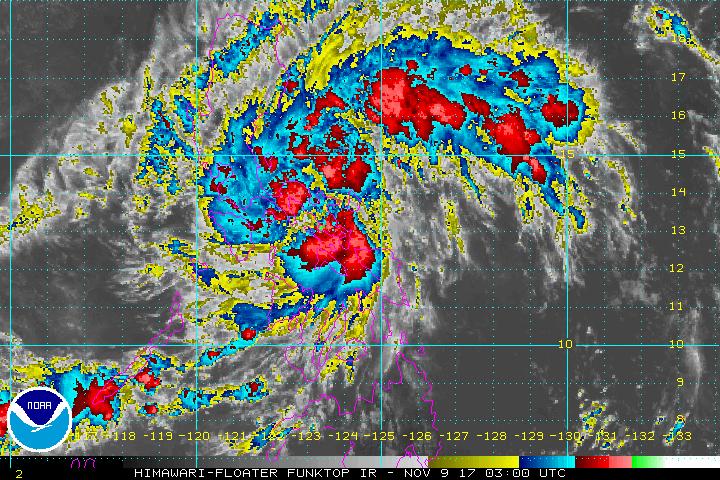 Satellite image as of November 9, 11 am. Image courtesy of NOAA