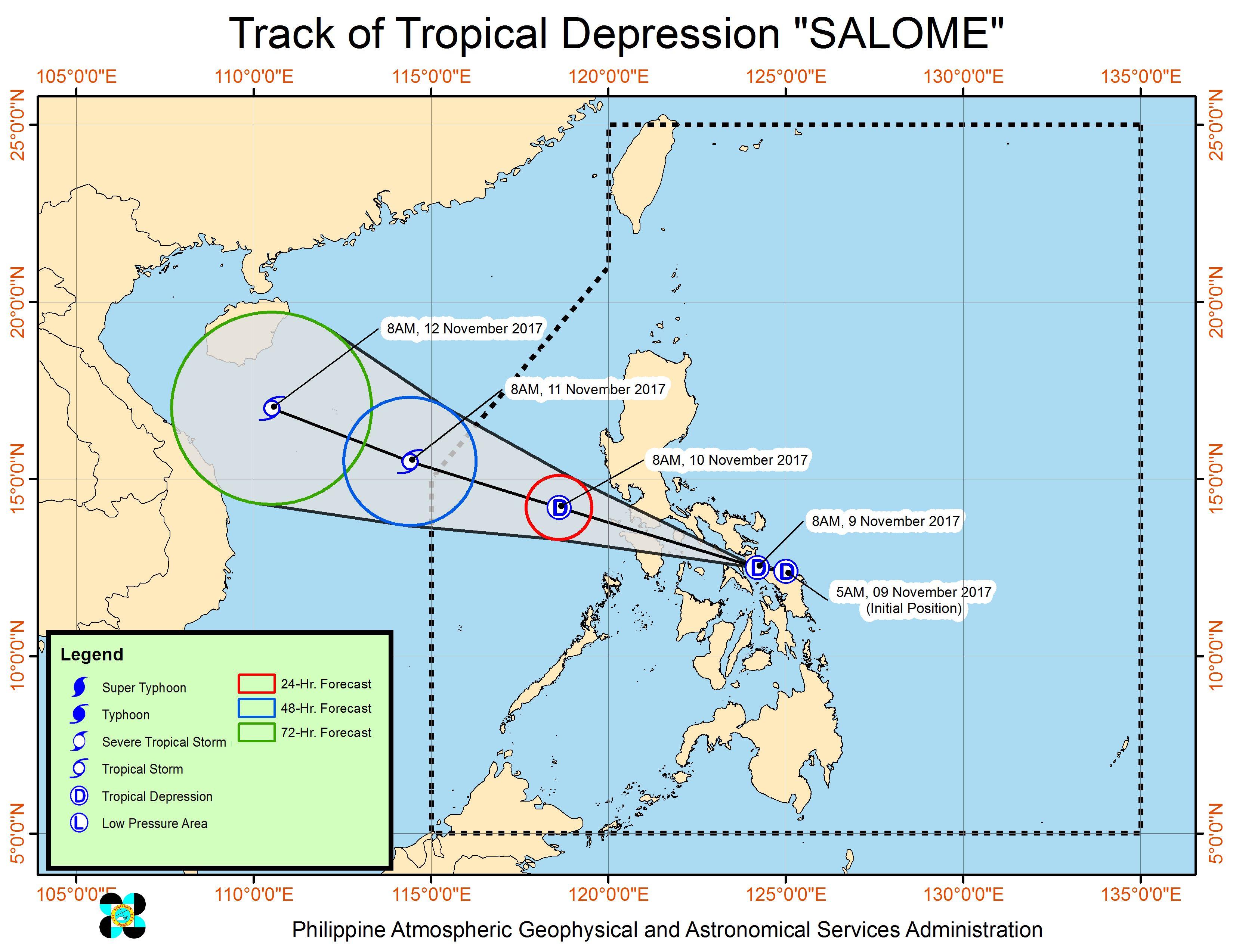 Forecast track of Tropical Depression Salome as of November 9, 11 am. Image courtesy of PAGASA