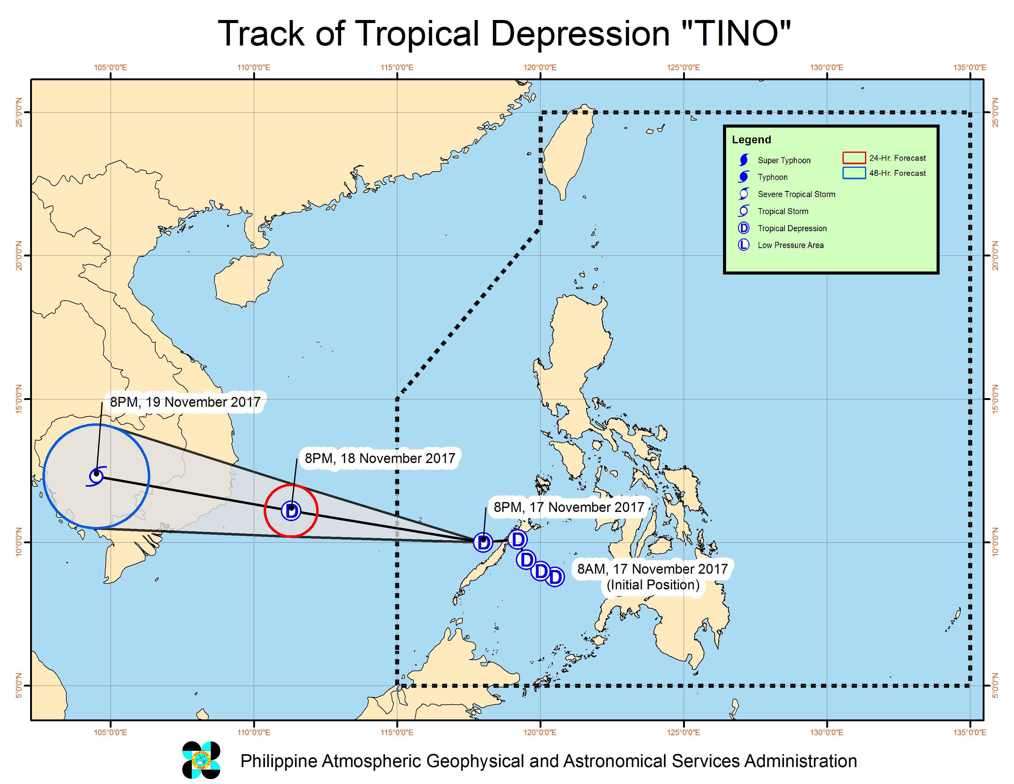 Forecast track of Tropical Depression Tino as of November 17, 11 pm. Image courtesy of PAGASA