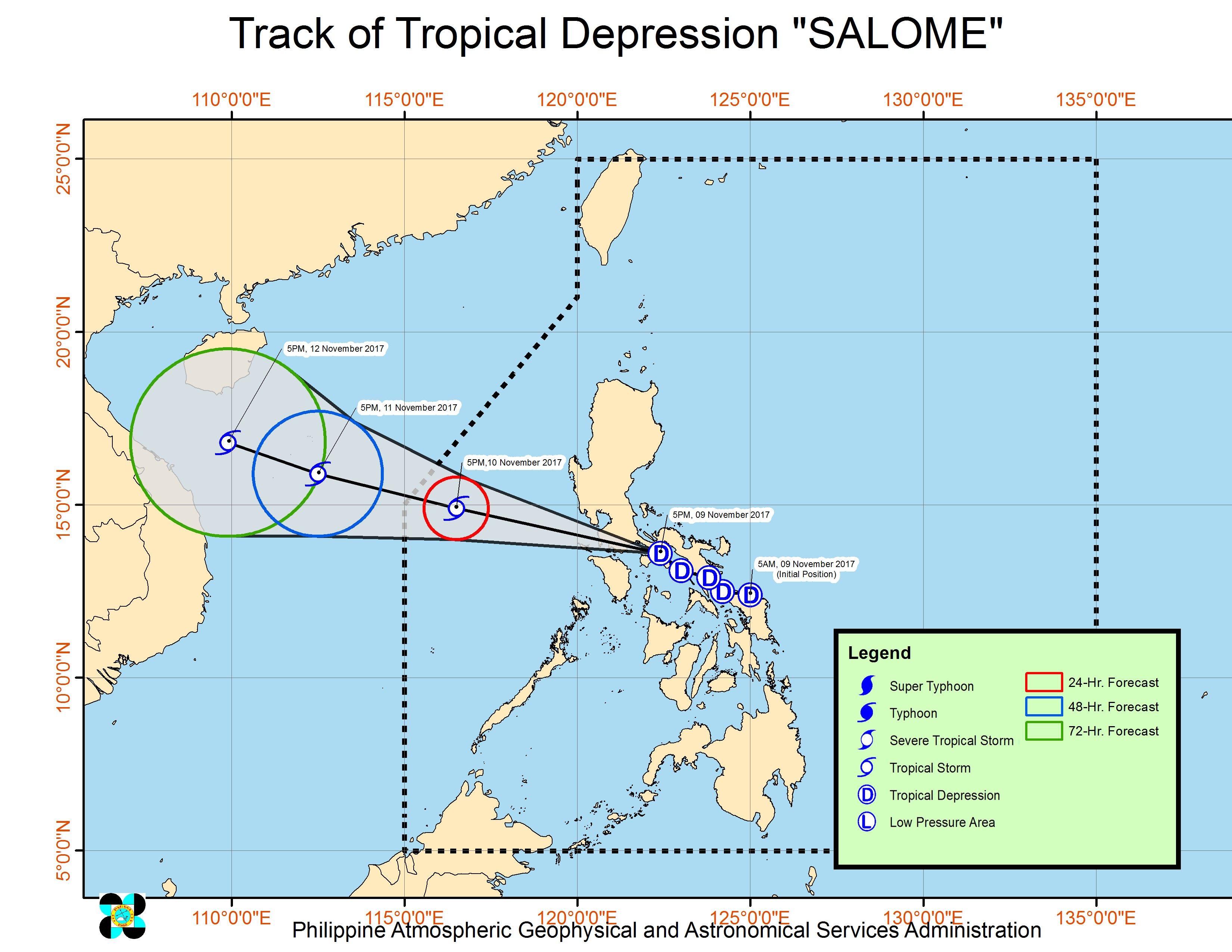 Forecast track of Tropical Depression Salome as of November 9, 8 pm. Image courtesy of PAGASA