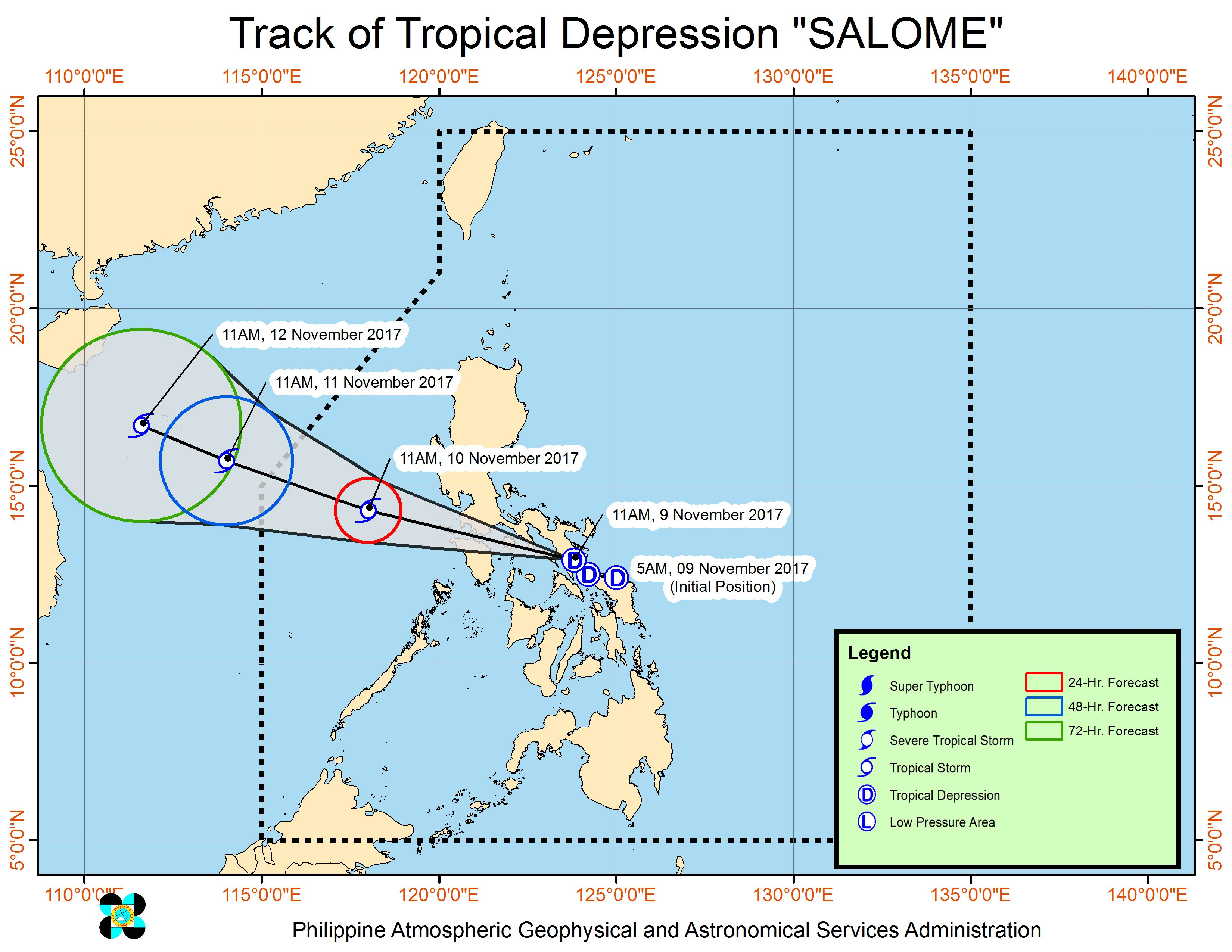 Forecast track of Tropical Depression Salome as of November 9, 2 pm. Image courtesy of PAGASA