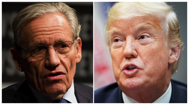BOOK ON WHITE HOUSE. This combination of file photos created September 4, 2018 shows Associate Editor of the Washington Post Bob Woodward and US President Donald Trump. File photos by Mandel Ngan and Jim Watson/AFP