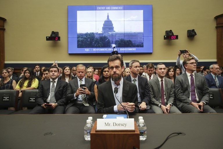 JACK DORSEY. The Twitter CEO takes his seat as he arrives for a House Committee on Energy and Commerce hearing about Twitter's transparency and accountability, on Capitol Hill, September 5. Photo by Drew Angerer/Getty Images/AFP