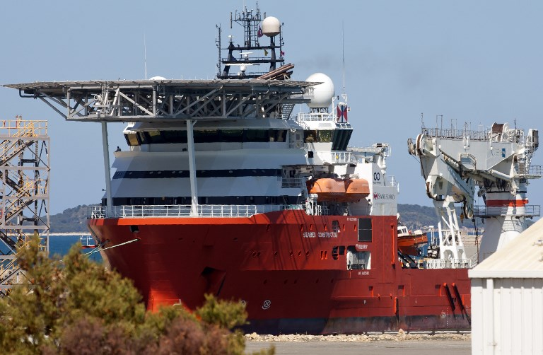 The Seabed Constructor ship, being used in the search for missing Malaysia Airlines MH370 which disappeared in 2014, sits berthed at the Australian Marine Complex for a scheduled refuelling in the Western Australian town of Henderson, south of Perth, on February 8, 2018.File photo by Tony Ashby/AFP