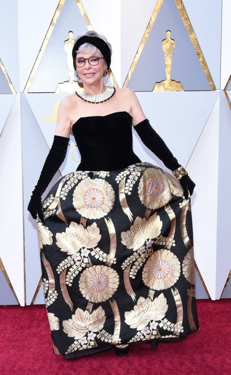 RED CARPET. Actress Rita Moreno arrives for the 90th Annual Academy Awards on March 4, 2018, in Hollywood, California Photo by Valerie Macon / AFP
