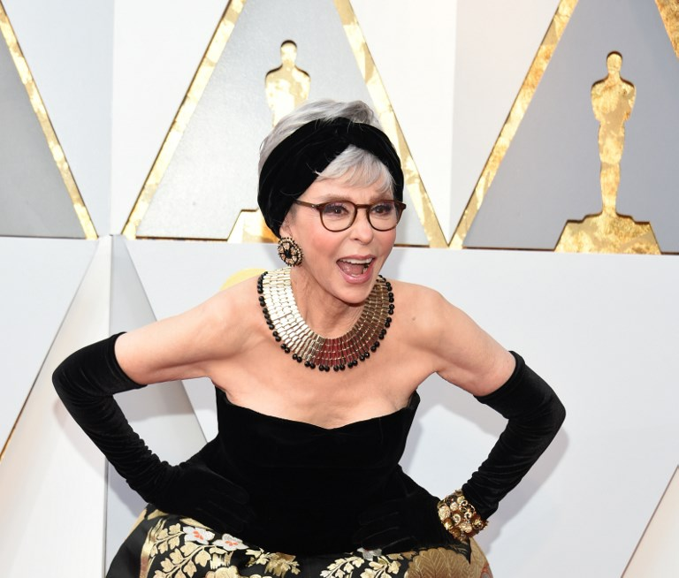 FILIPINO DESIGN. Actress Rita Moreno arrives for the 90th Annual Academy Awards, wearing the same dress she wore when she won in 1962. Photo by  Valerie Macon/AFP