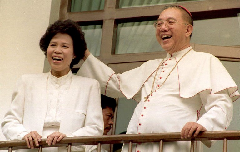 PRESIDENTIAL BID. Presidential candidate Miriam Defensor Santiago with Jaime Cardinal Sin on May 12, 1992, a day after the  elections. Photo by Robyn Beck/AFP