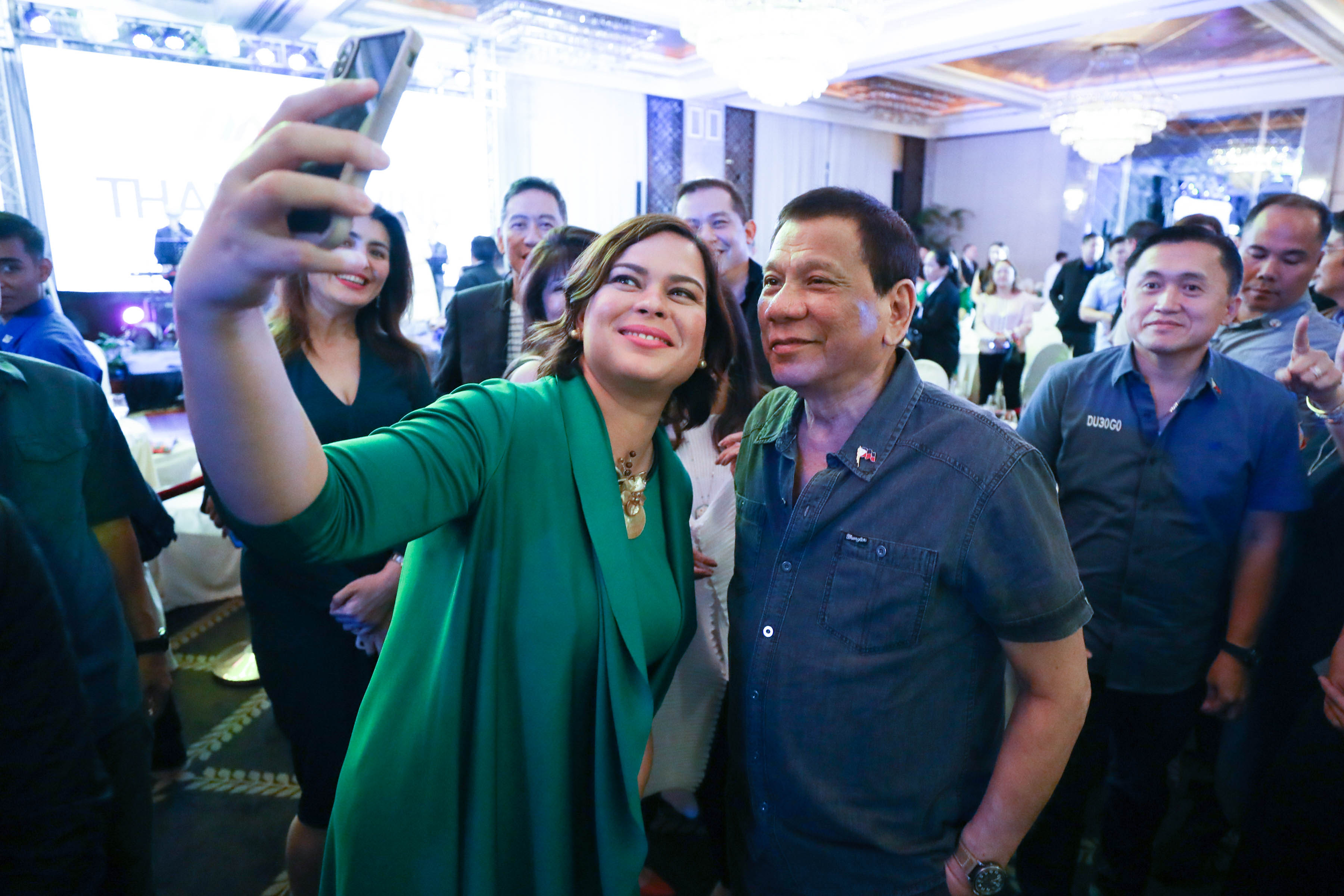 FATHER-DAUGHTER TANDEM. The father-daughter team of Sara Duterte and Rodrigo Duterte manage to shut out the opposition from the Senate in the 2019 elections. Malacau00f1ang photo