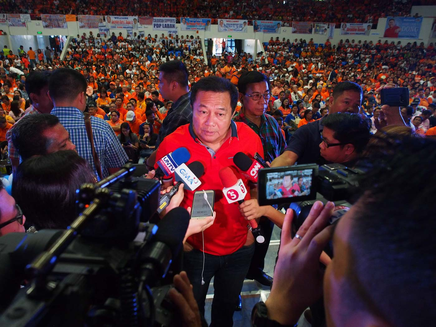 IN HOT WATER? Speaker Pantaleon Alvarez grants a media interview before leading a mass oath-taking of PDP-Laban members in Caloocan City in March 2018. File photo by House of Representatives