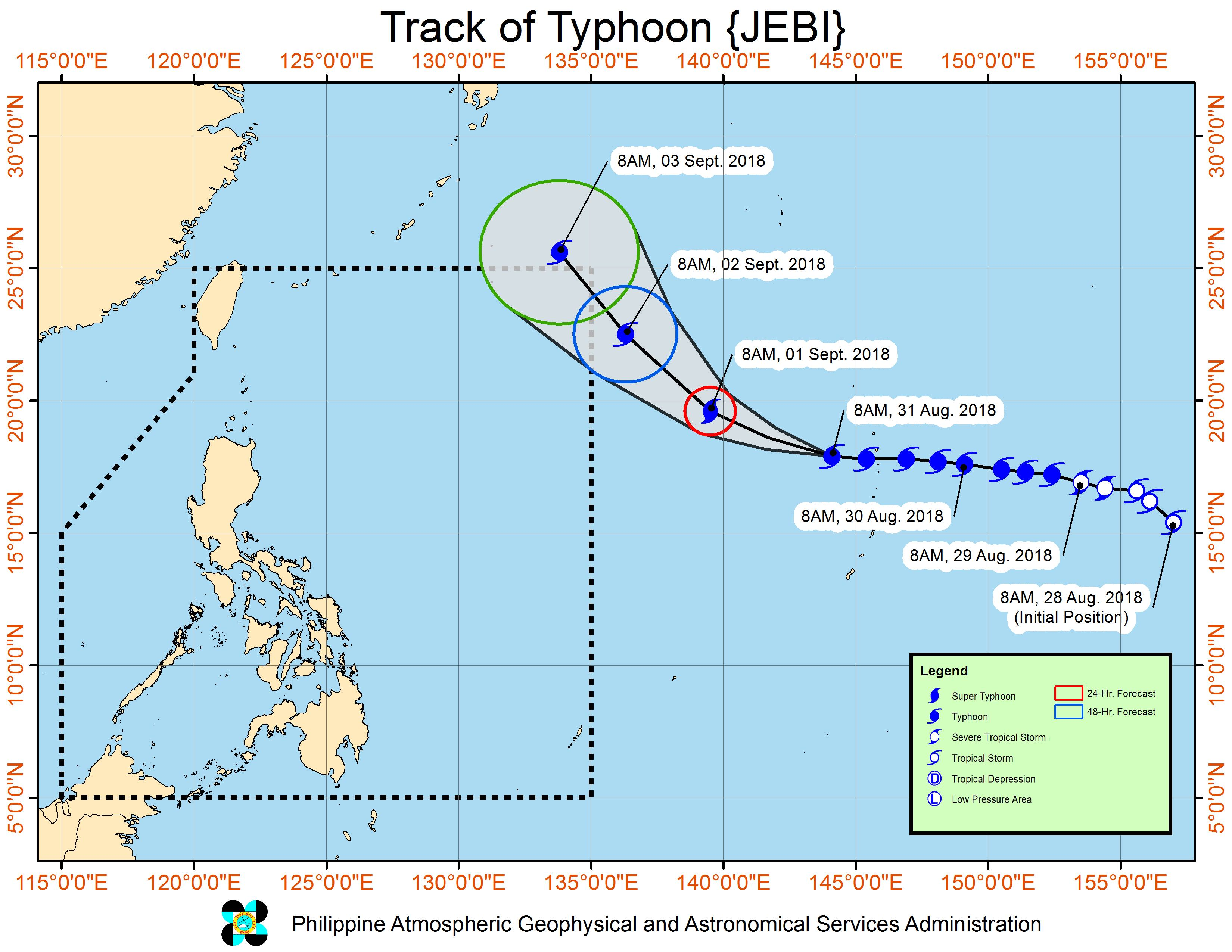 Forecast track of Typhoon Jebi as of August 31, 2018, 11 am. Image from PAGASA