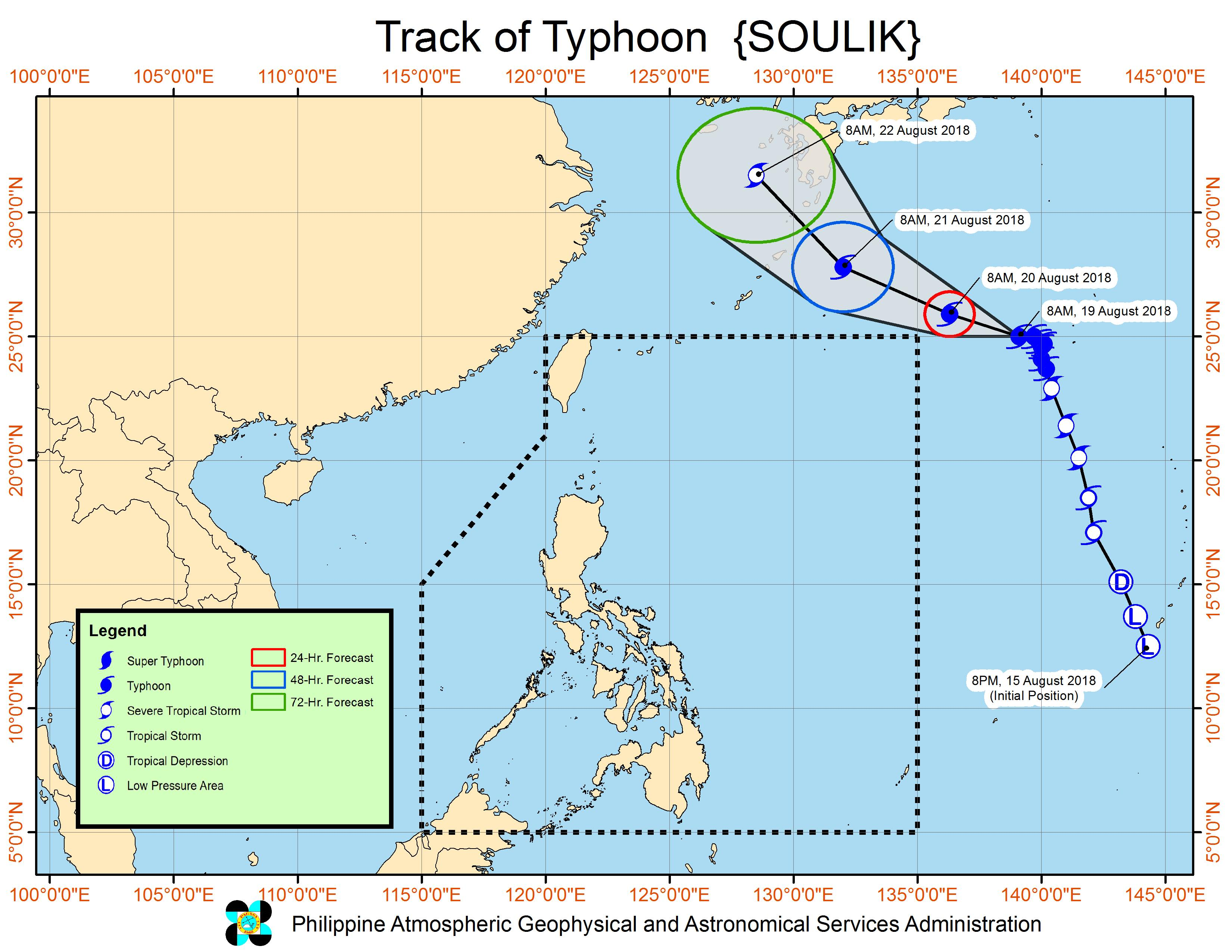 Forecast track of Typhoon Soulik outside the Philippine Area of Responsibility as of August 19, 2018, 11 am. Image from PAGASA