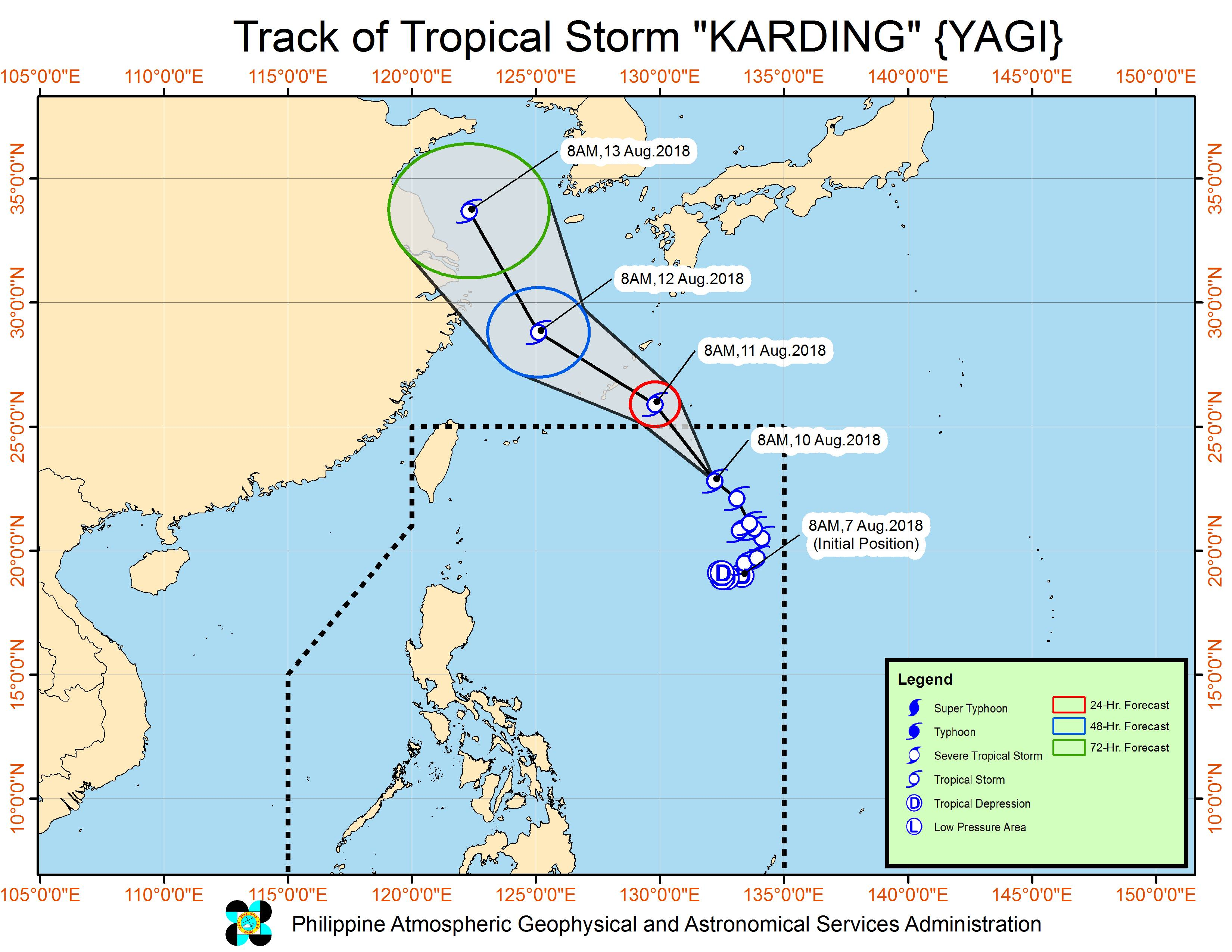 Forecast track of Tropical Storm Karding (Yagi) as of August 10, 2018, 11 am. Image from PAGASA